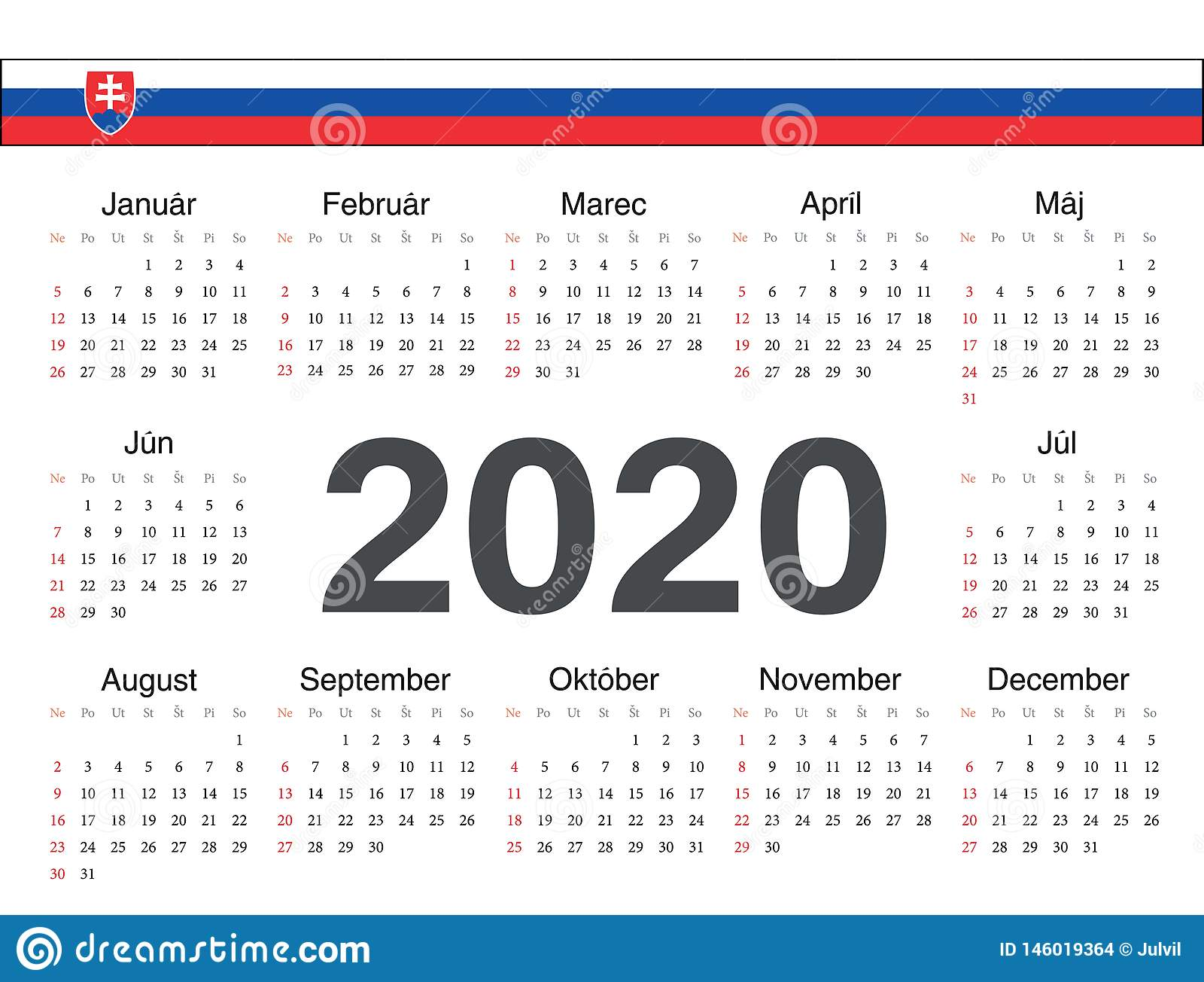 Ut Calendar 2020 Vector Slovak Circle Calendar 2020 Stock Vector   Illustration of