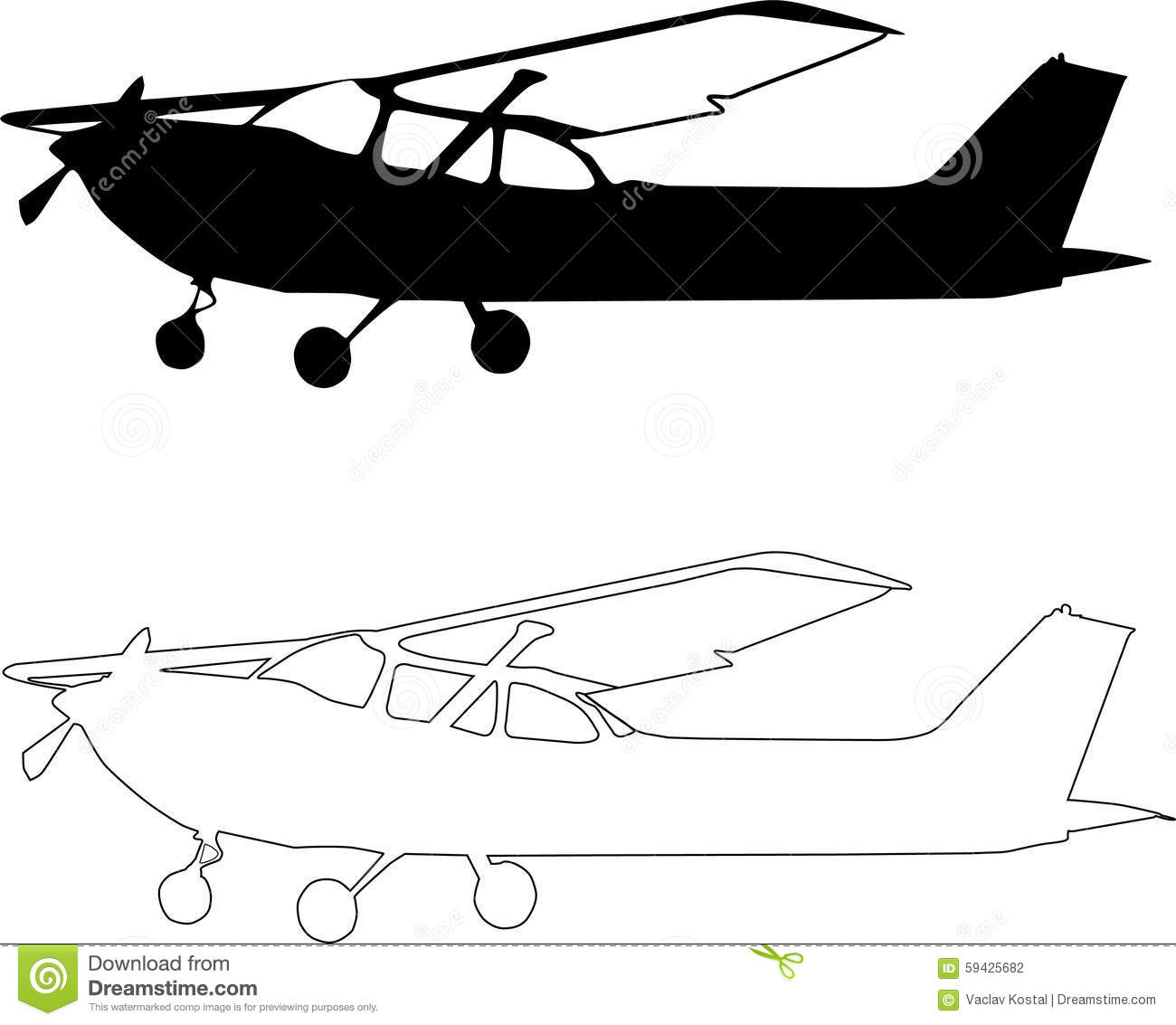 Vector Small Airplane Sillhouete Stock Vector ... (1300 x 1133 Pixel)