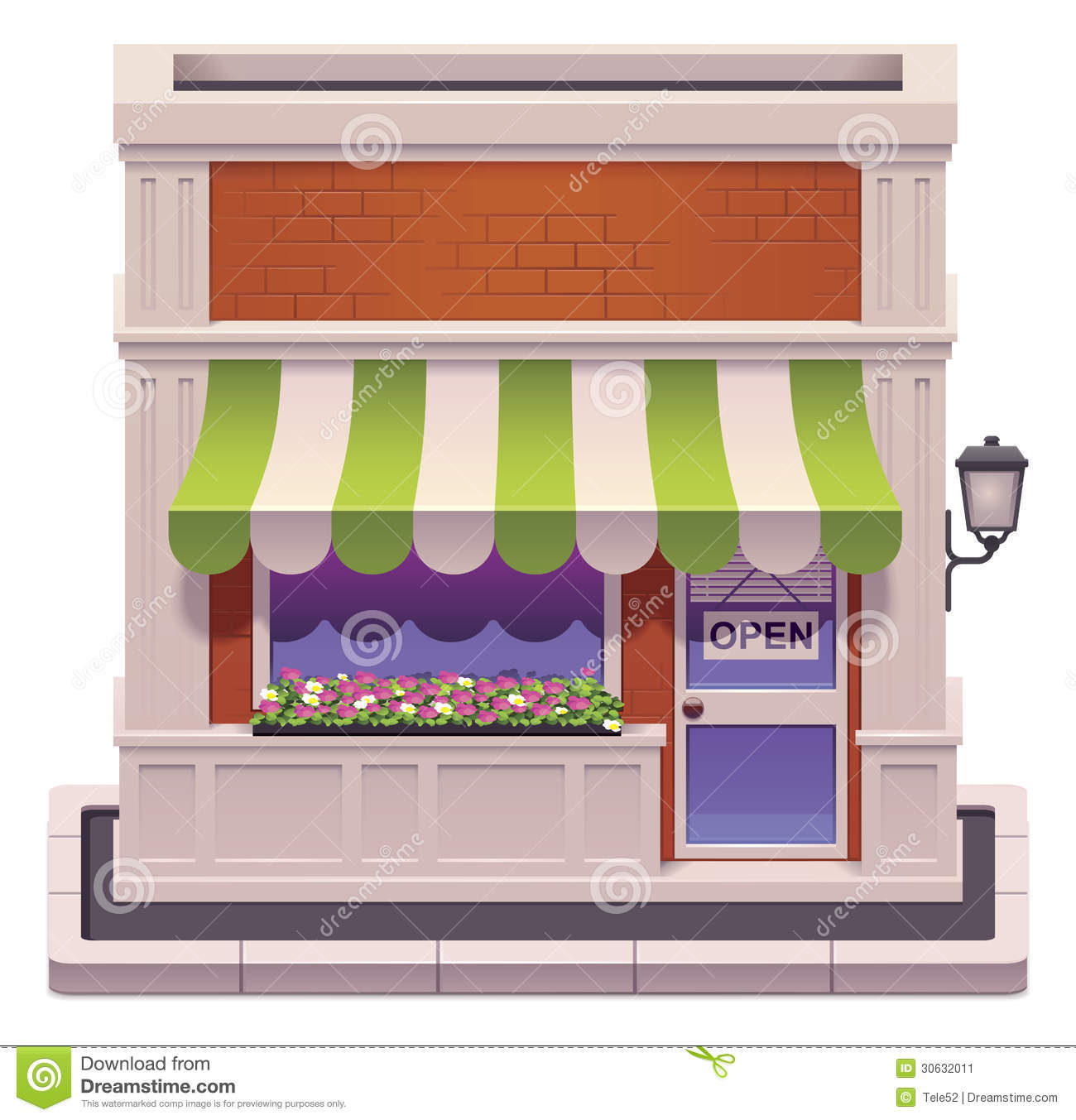 Detailed icon representing shop building with awnings.