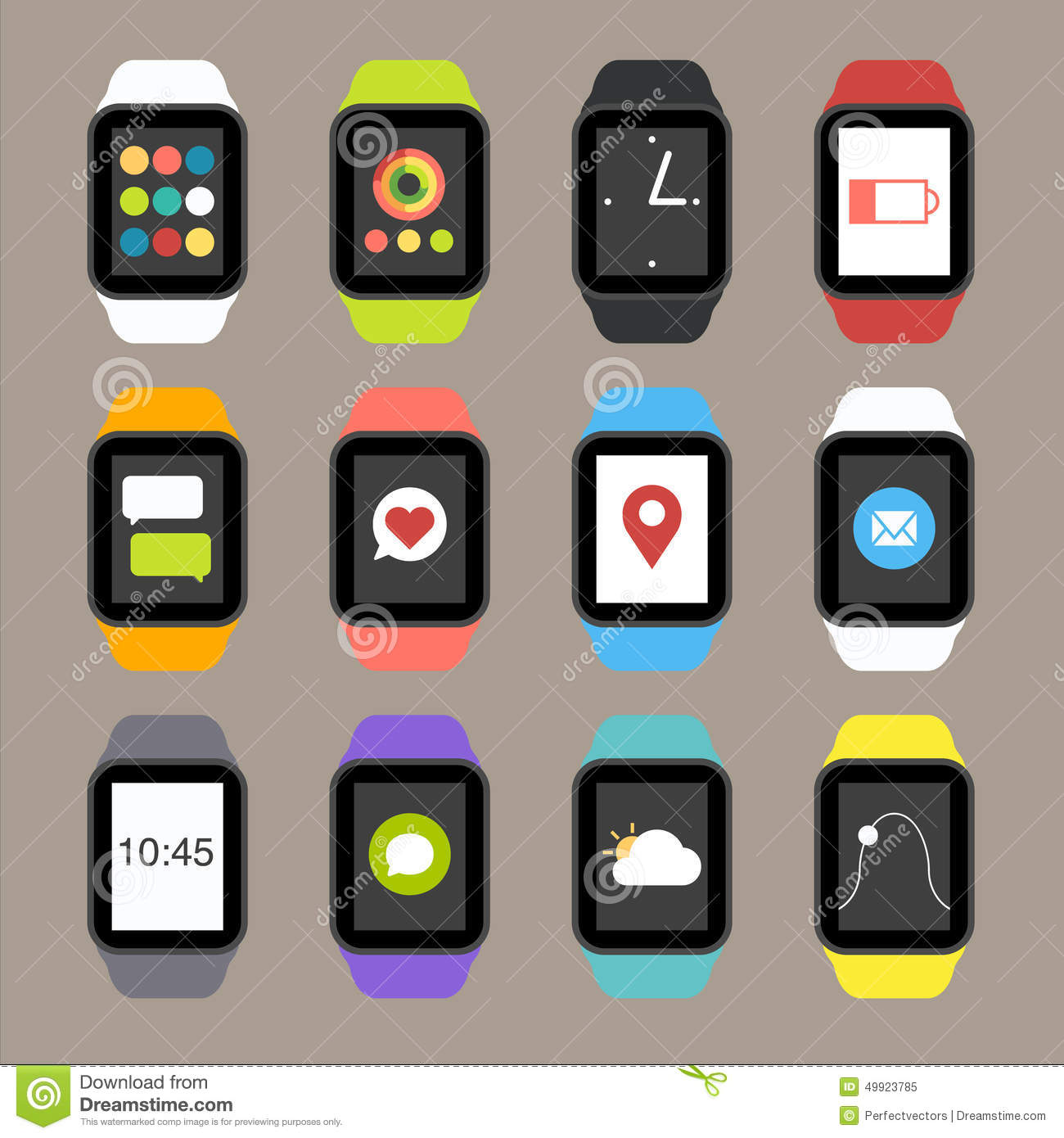 Vector Smart Watch And Smartphone Fitness Sport Concept ...