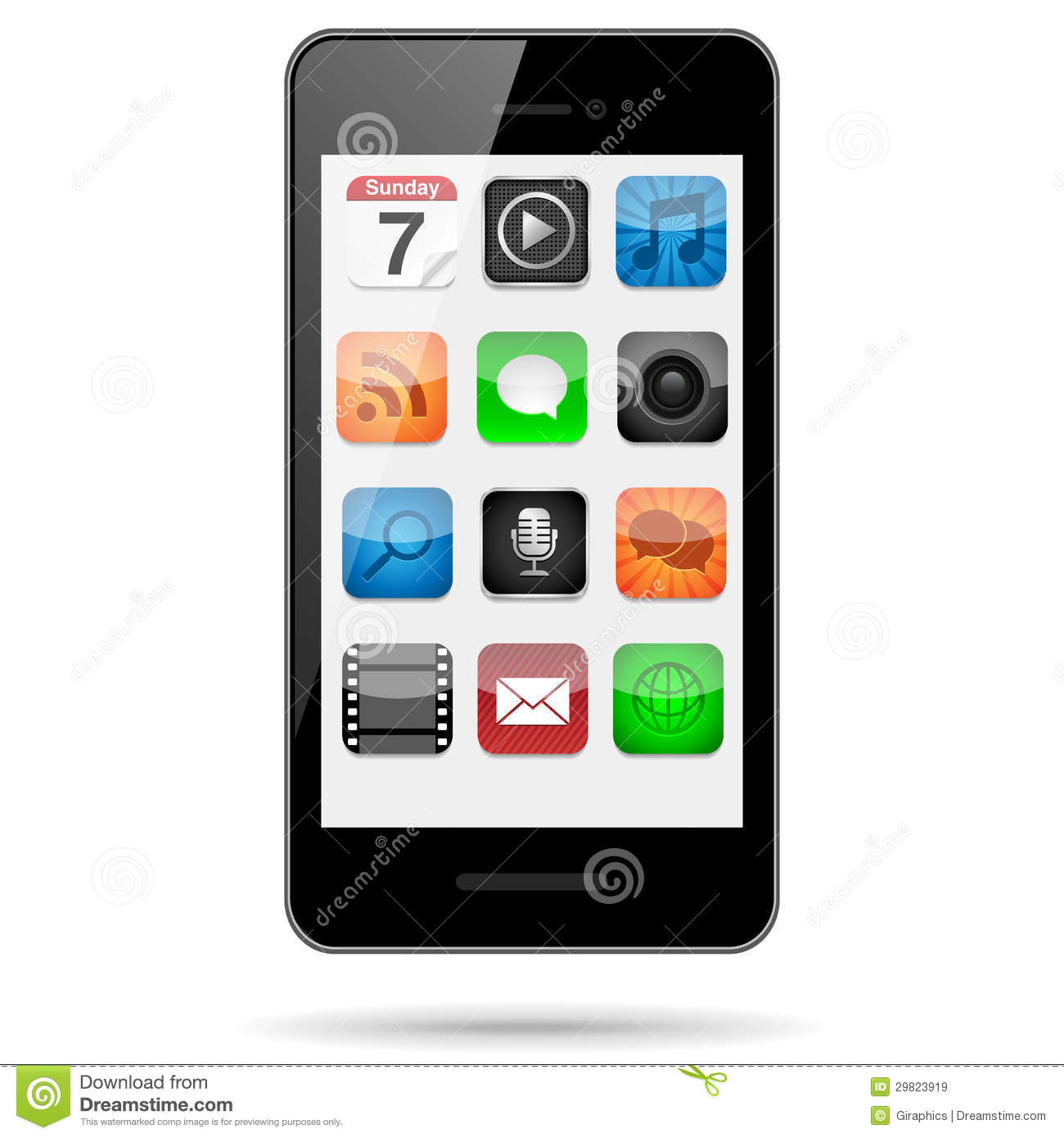 smartphone with app icons royalty free stock images