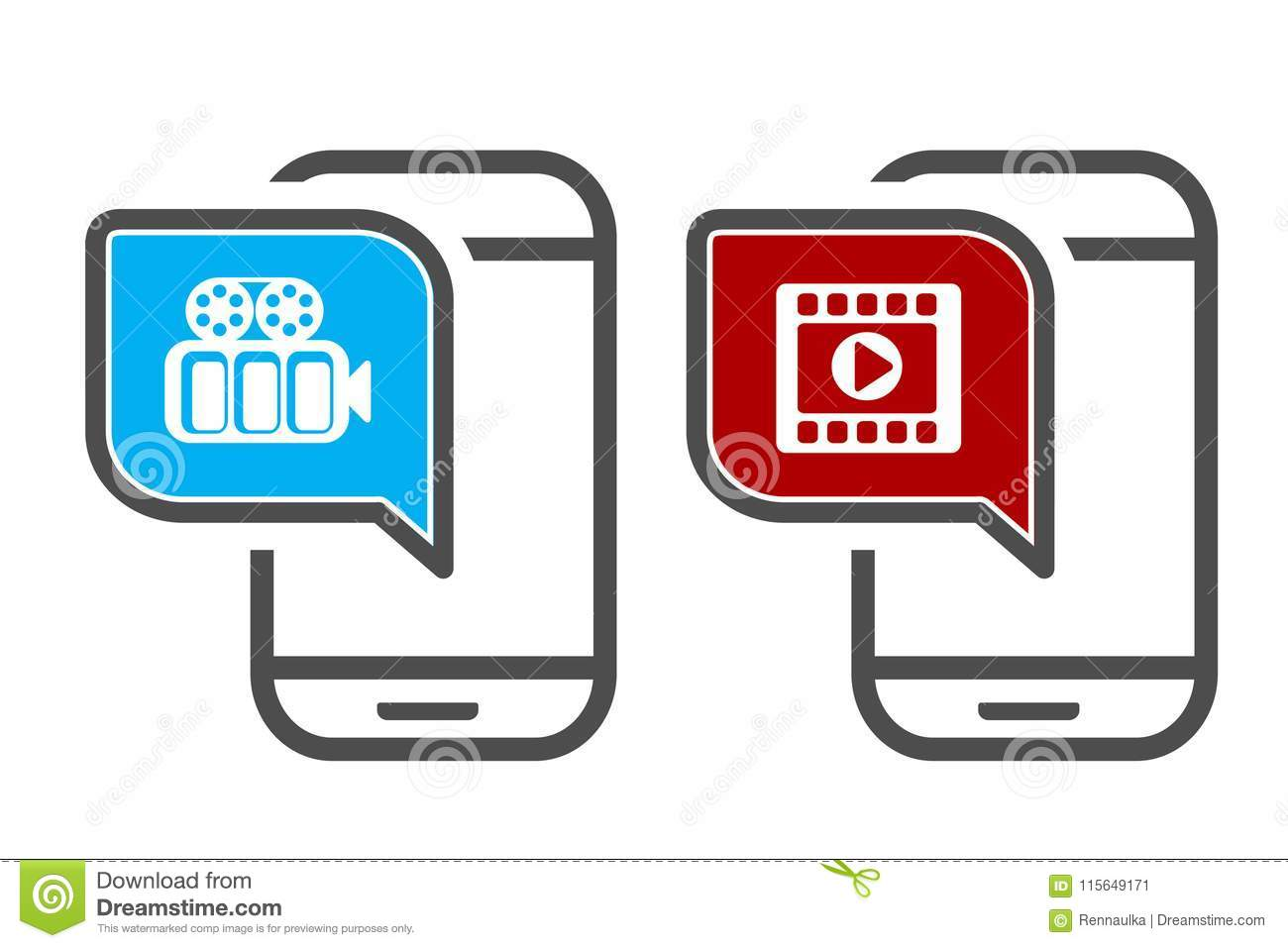 Vector Smartphone With Video Player  App Icons For Video Playback Or