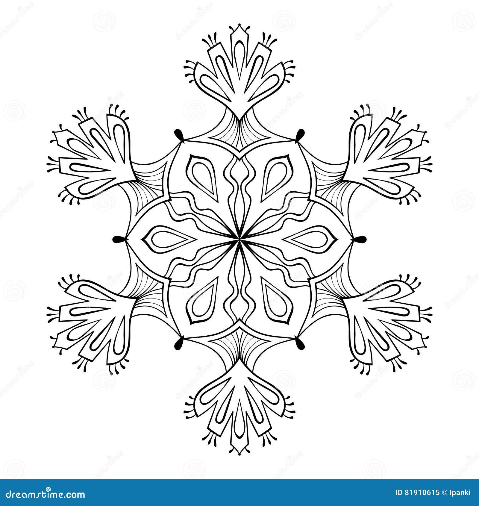 vector snow flake in zentangle doodle style mandala for adult c stock vector illustration of. Black Bedroom Furniture Sets. Home Design Ideas