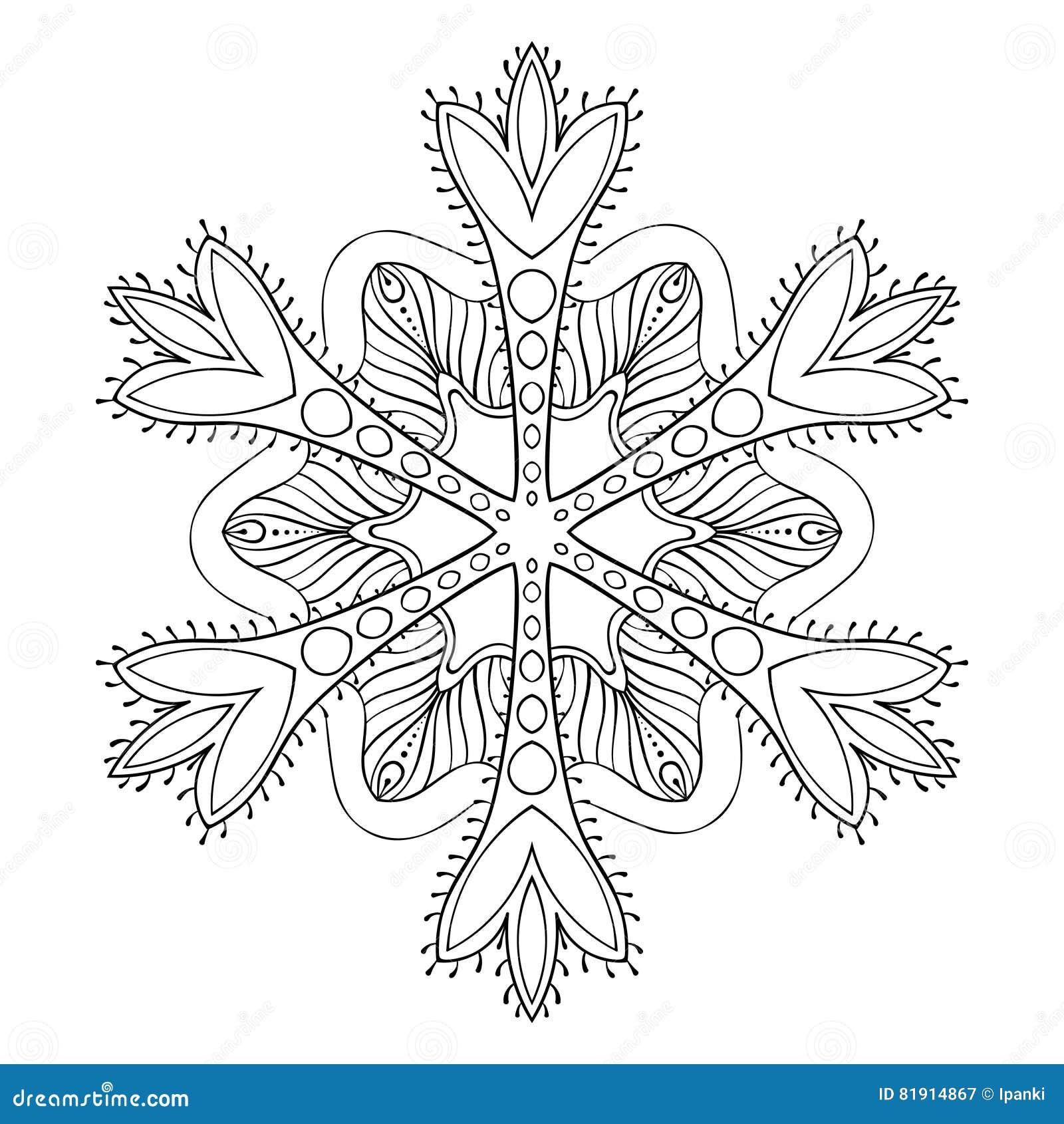Vector Snow Flake In Zentangle