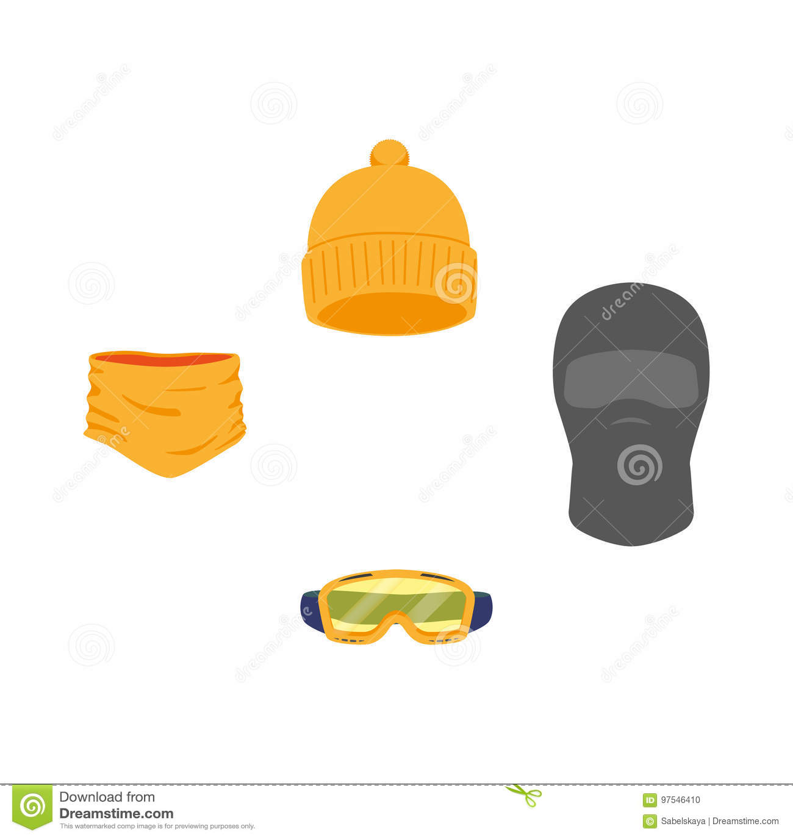 d011288e958 Vector snowboarding equipment set - cap balaclava goggles mask flat icon.  illustration on a white background. Snowboard