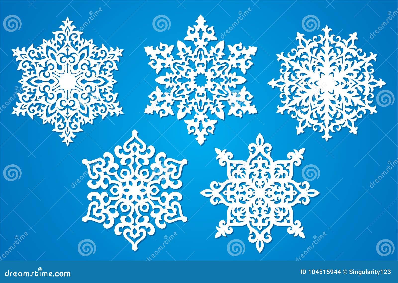 Christmas Cutout Patterns.Vector Snowflake Laser Cut Template Cutout Pattern Of