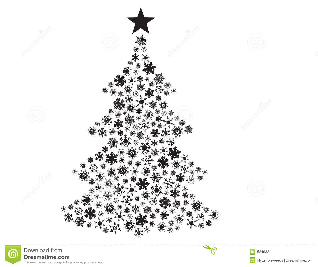 Vector Snowflakes In Christmas Tree Shape Stock Vector