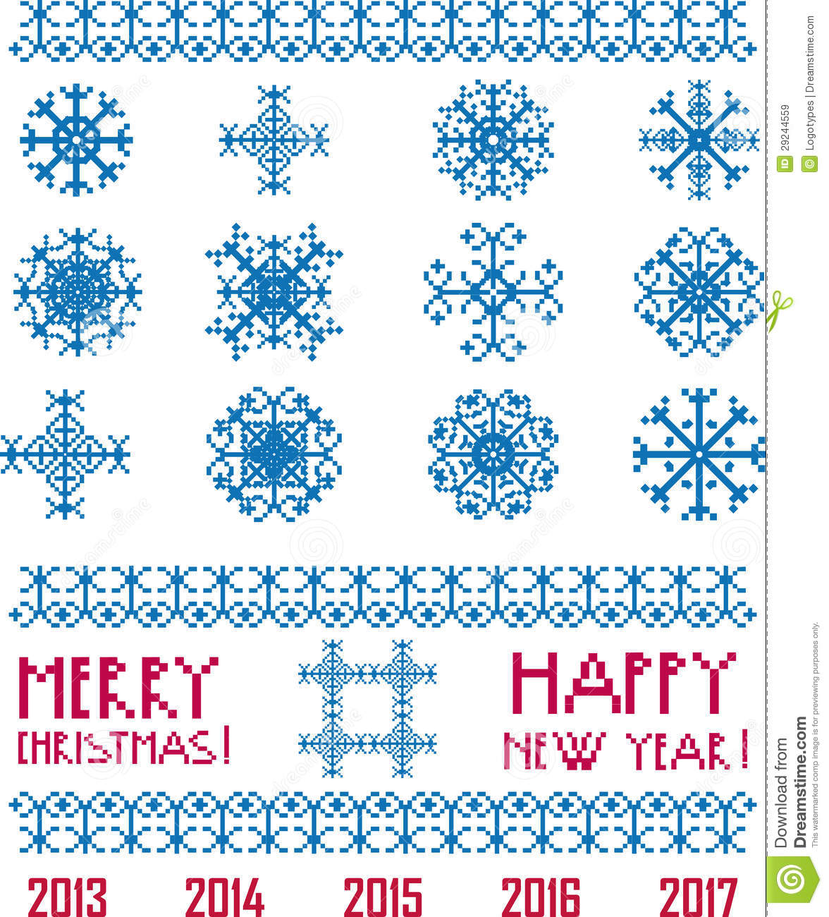 Stock Images  Vector Snowflakes in pixel style Christmas and New Year TDEtLgCe