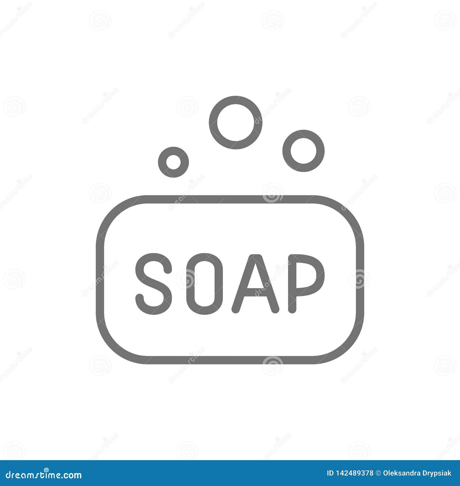 Soap bar, hygiene line icon.