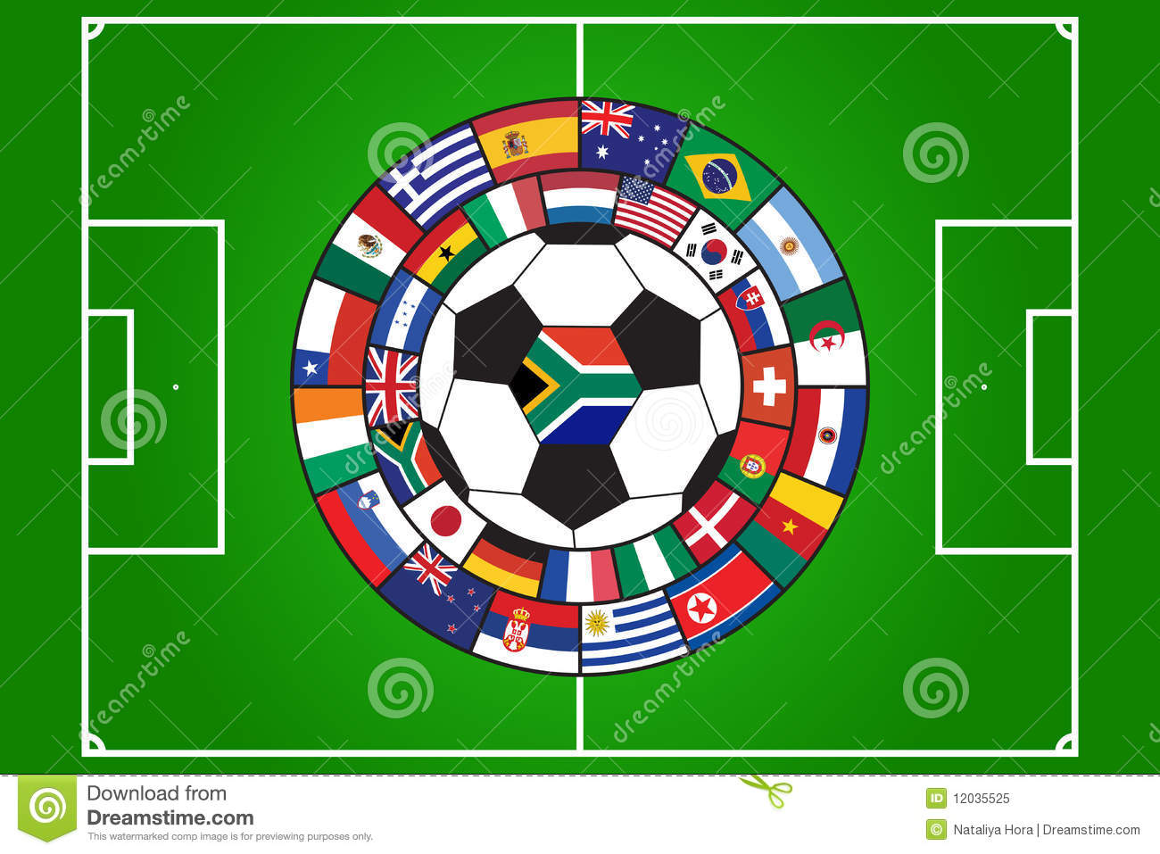 Vector Of Soccer Ball And Field With Flags Stock Vector ...