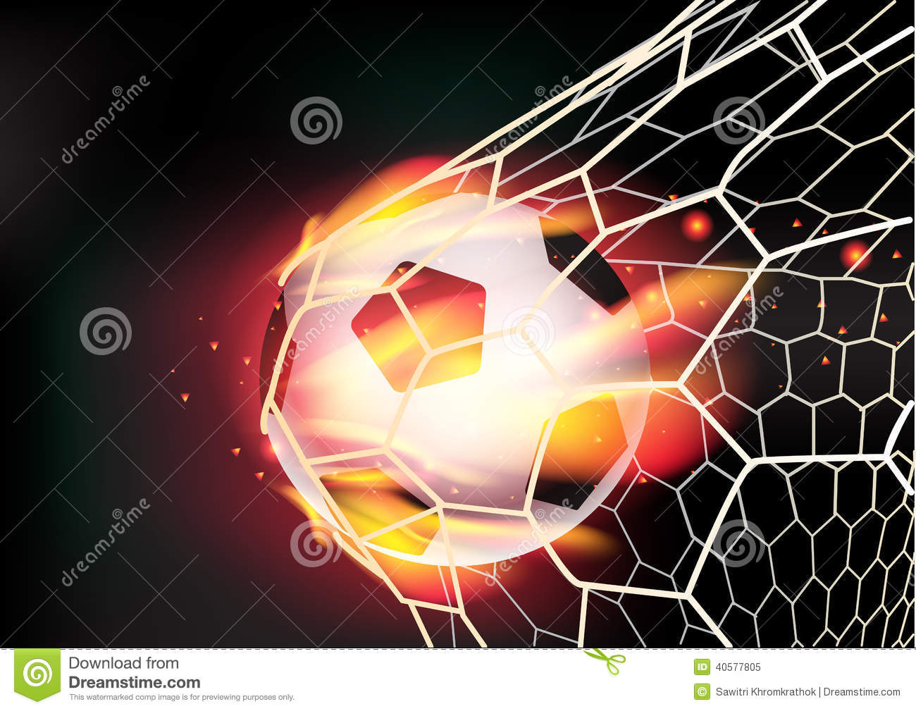 Vector Soccer Ball In Goal Net On Fire Flames Stock Vector - Image ...