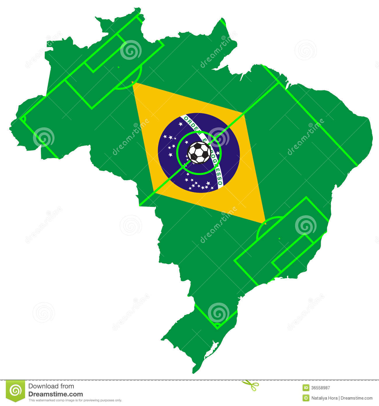 vector of soccer ball with map and flag of brazil stock vector