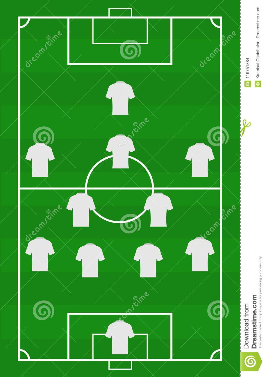 Vector soccer field with the arrangement of players in the game vector soccer field with the arrangement of players in the gameposition title of football player on green field template flat design vector illustration maxwellsz