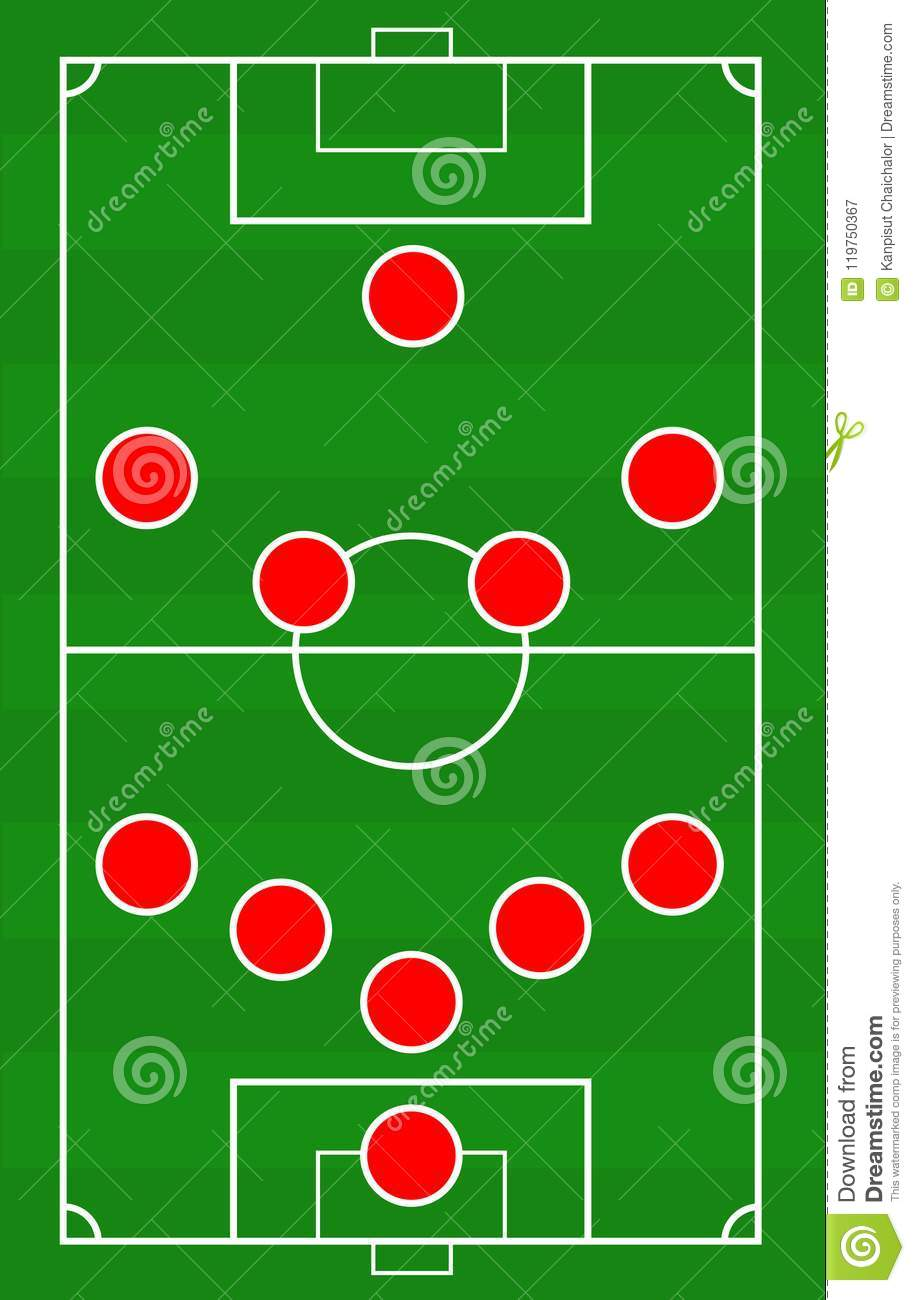vector soccer field with the arrangement of players in the game