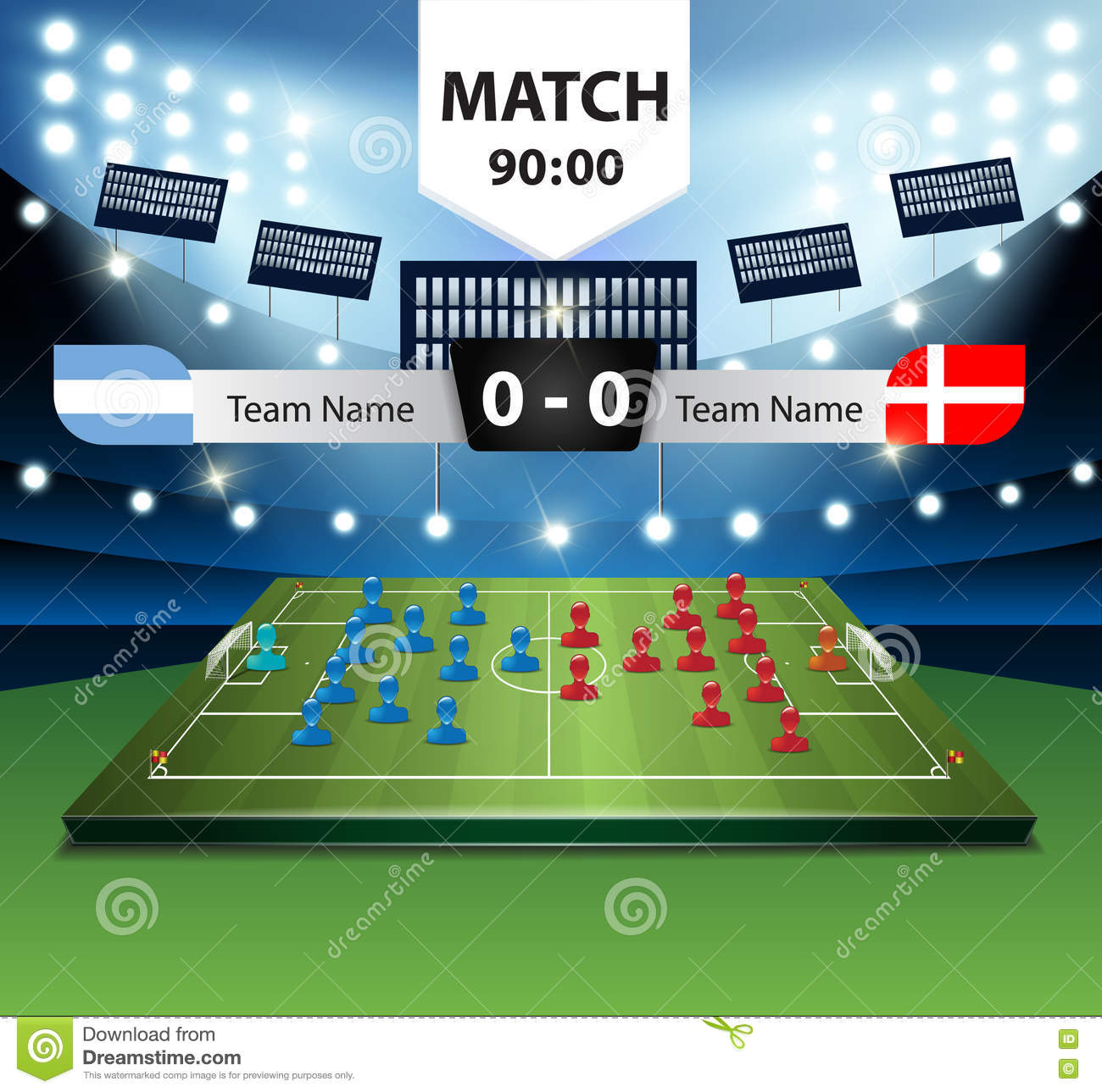 vector soccer field plan player with scoreboard  stock vector