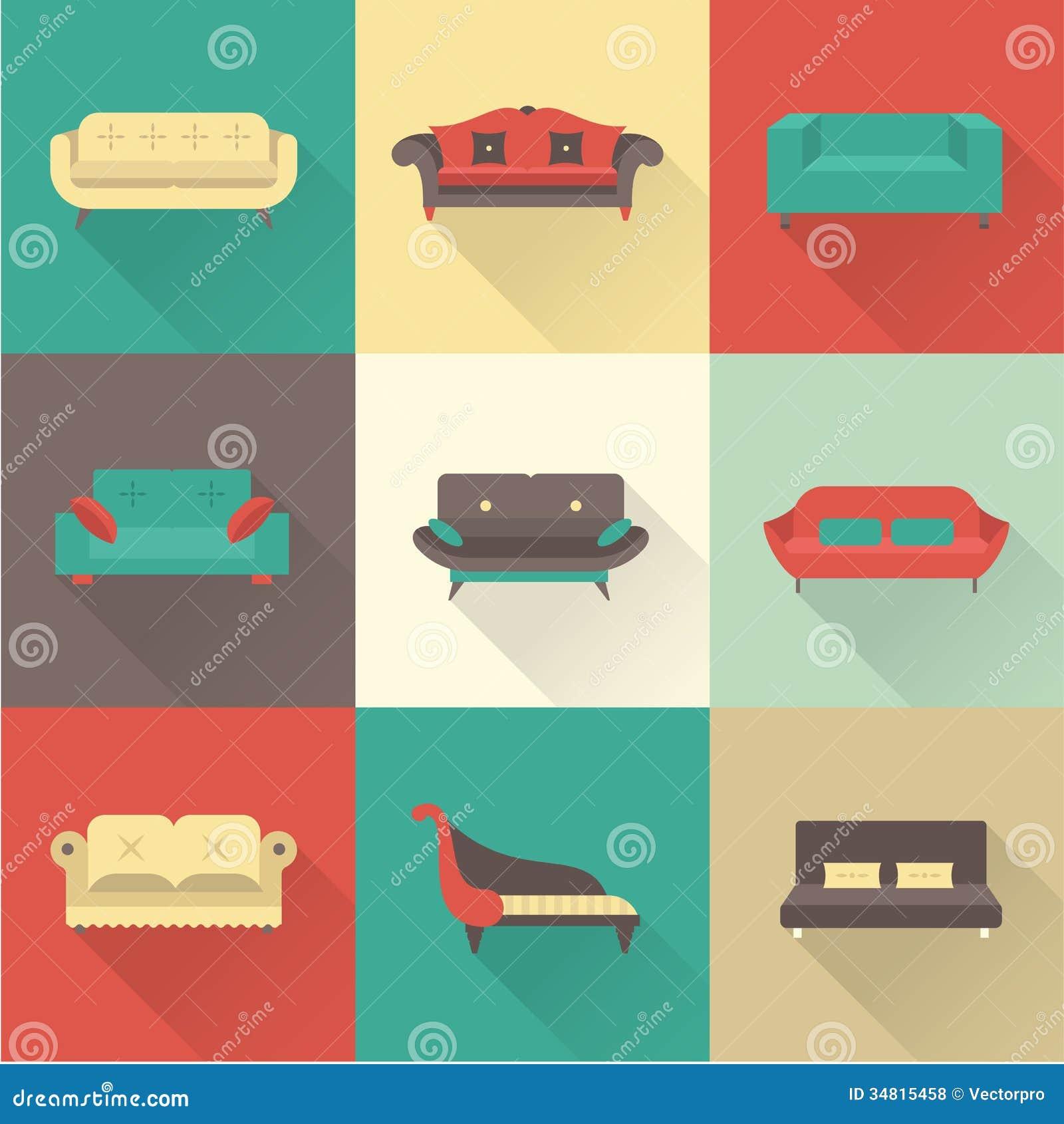Vector Sofa Icons Royalty Free Stock Photos Image 34815458