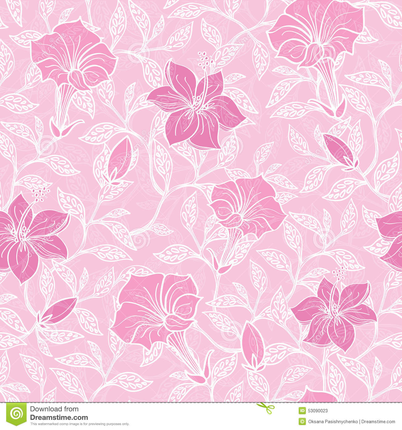 vector soft pink lineart blossoms seamless pattern stock