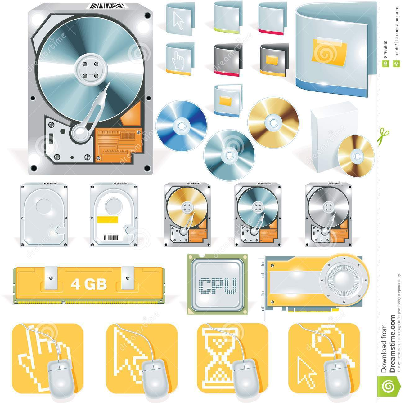 Vector software and hardware icon set stock photo image Vector image software