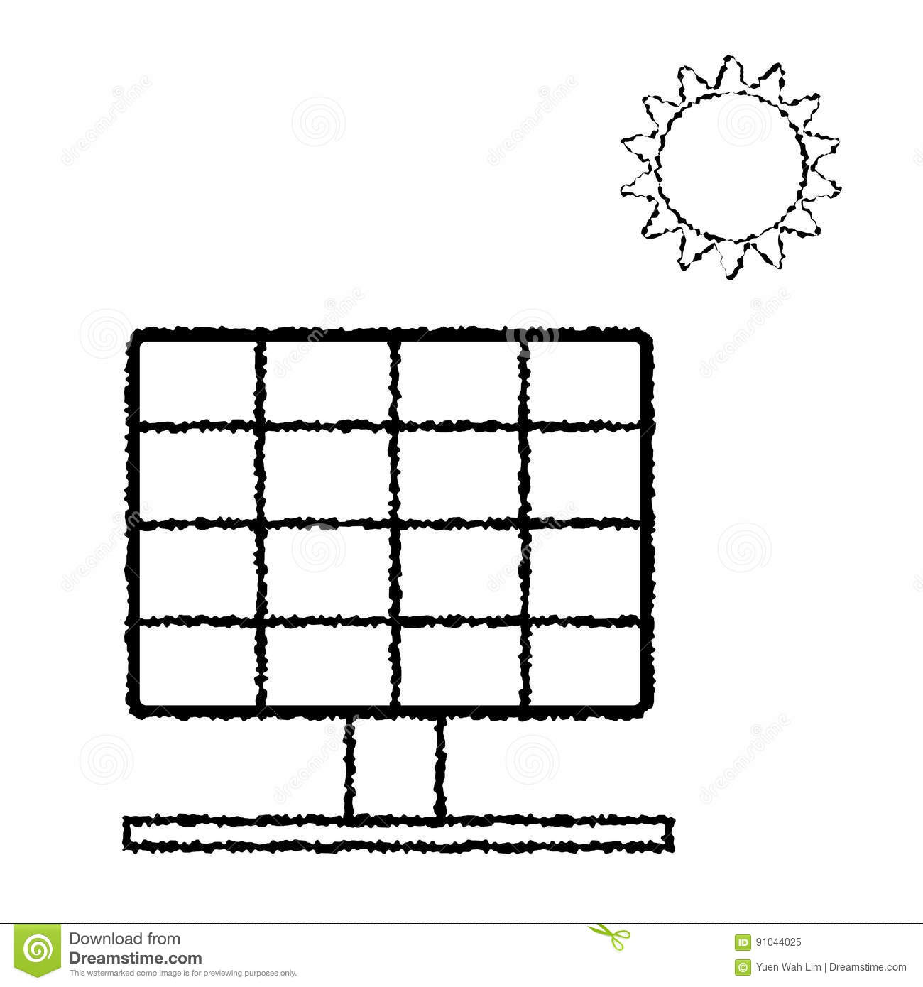 Black And White Solar Panel Diagram Electrical Wiring Diagrams Solarpaneldiagram Vector Of Doodle Eps8 Stock Box