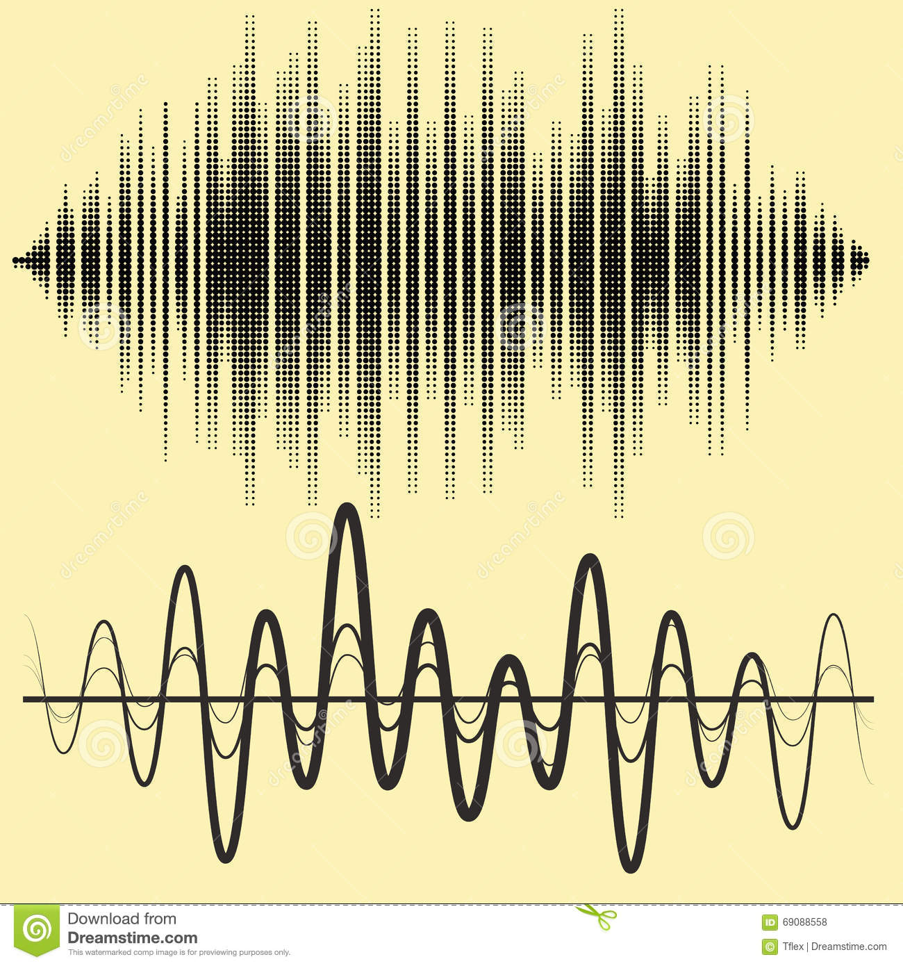 Acoustic Sound Waves : Vector sound waves set audio equalizer technology pulse