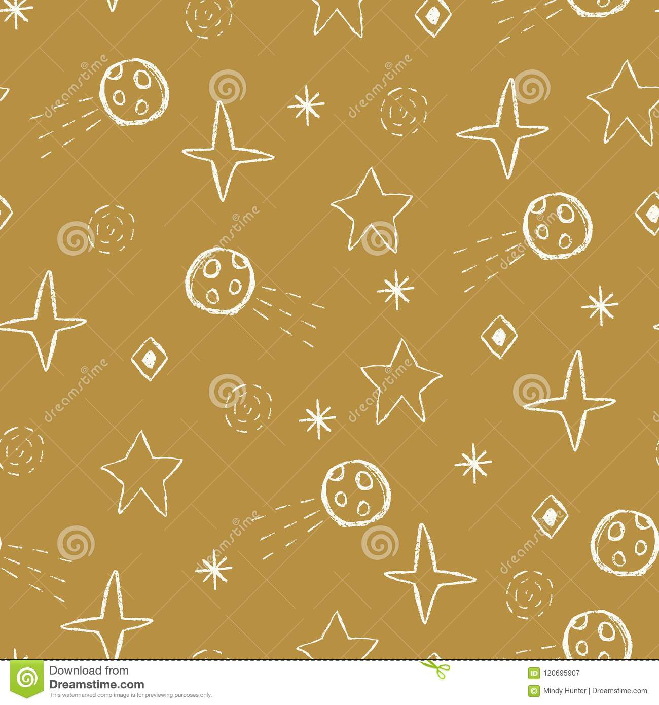 Vector space doodles,stars, comets, asteroids seamless repeat pattern