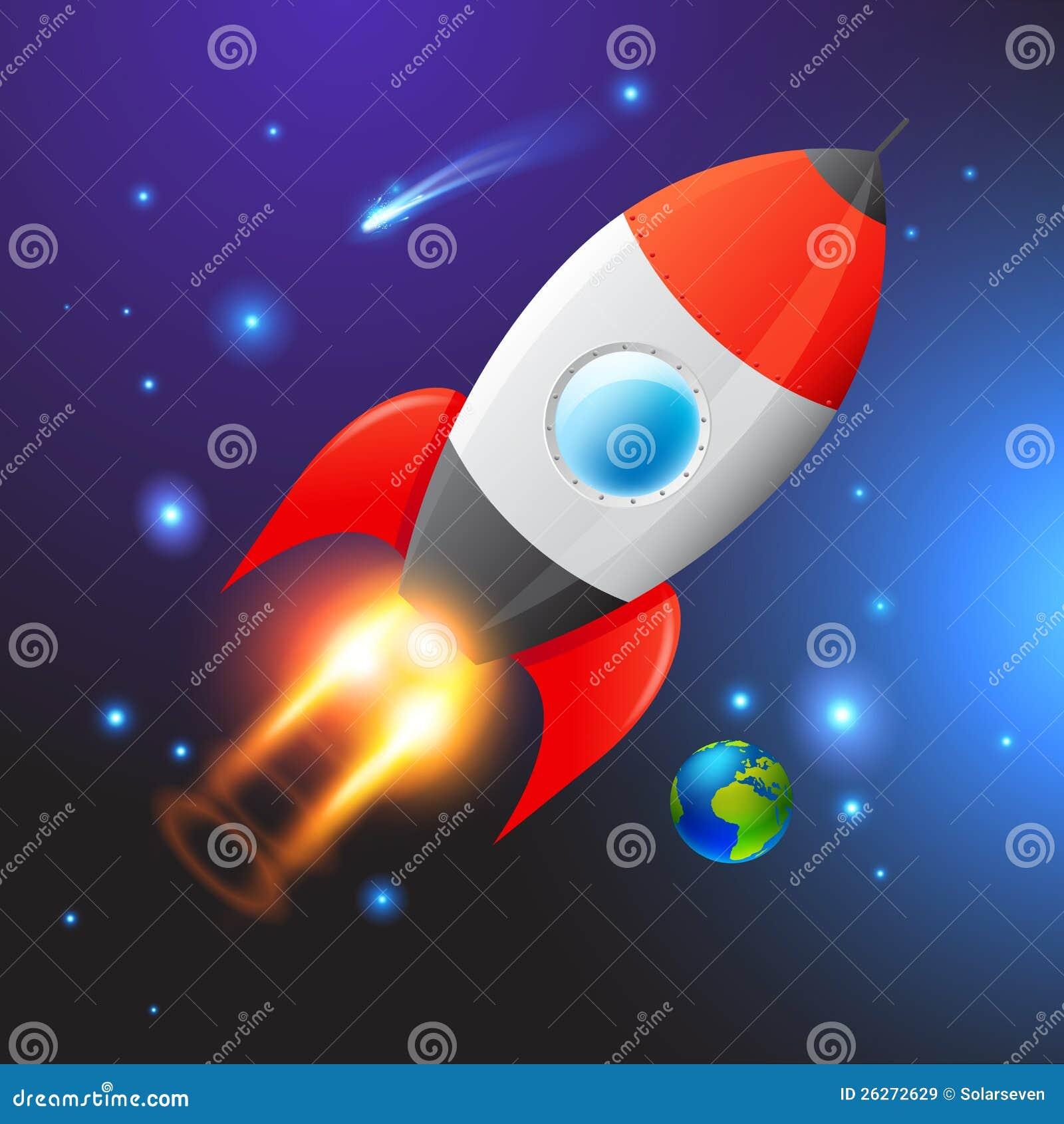 Red Rocket Icon Vector Space Rocket Ro...