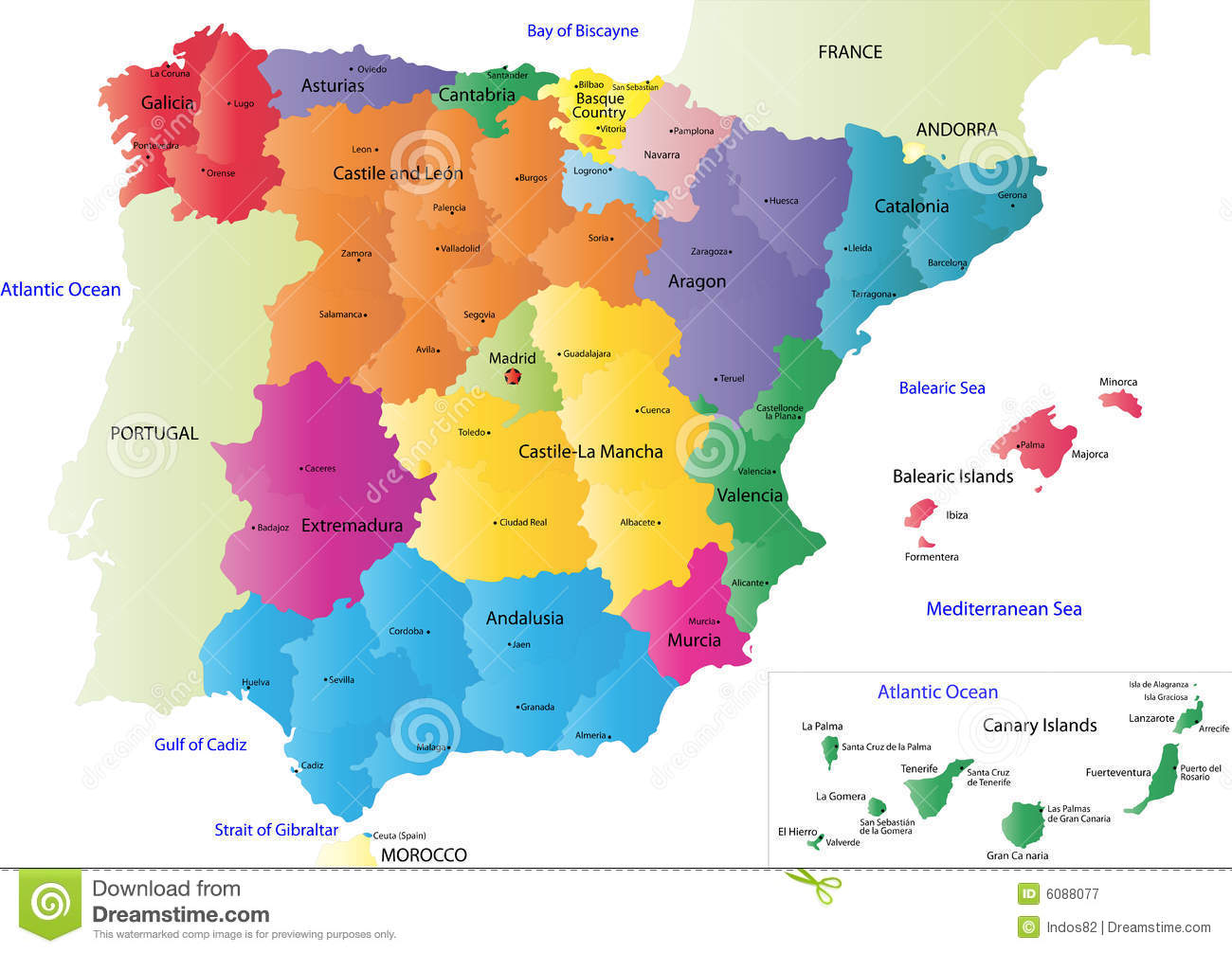 Vector Spain map stock vector. Illustration of andalusia - 6088077
