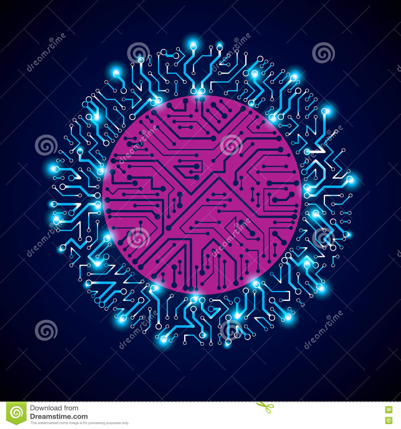 Vector Sparkling Circuit Board Circle Digital Technologies Abst Boards Like Magic Appears