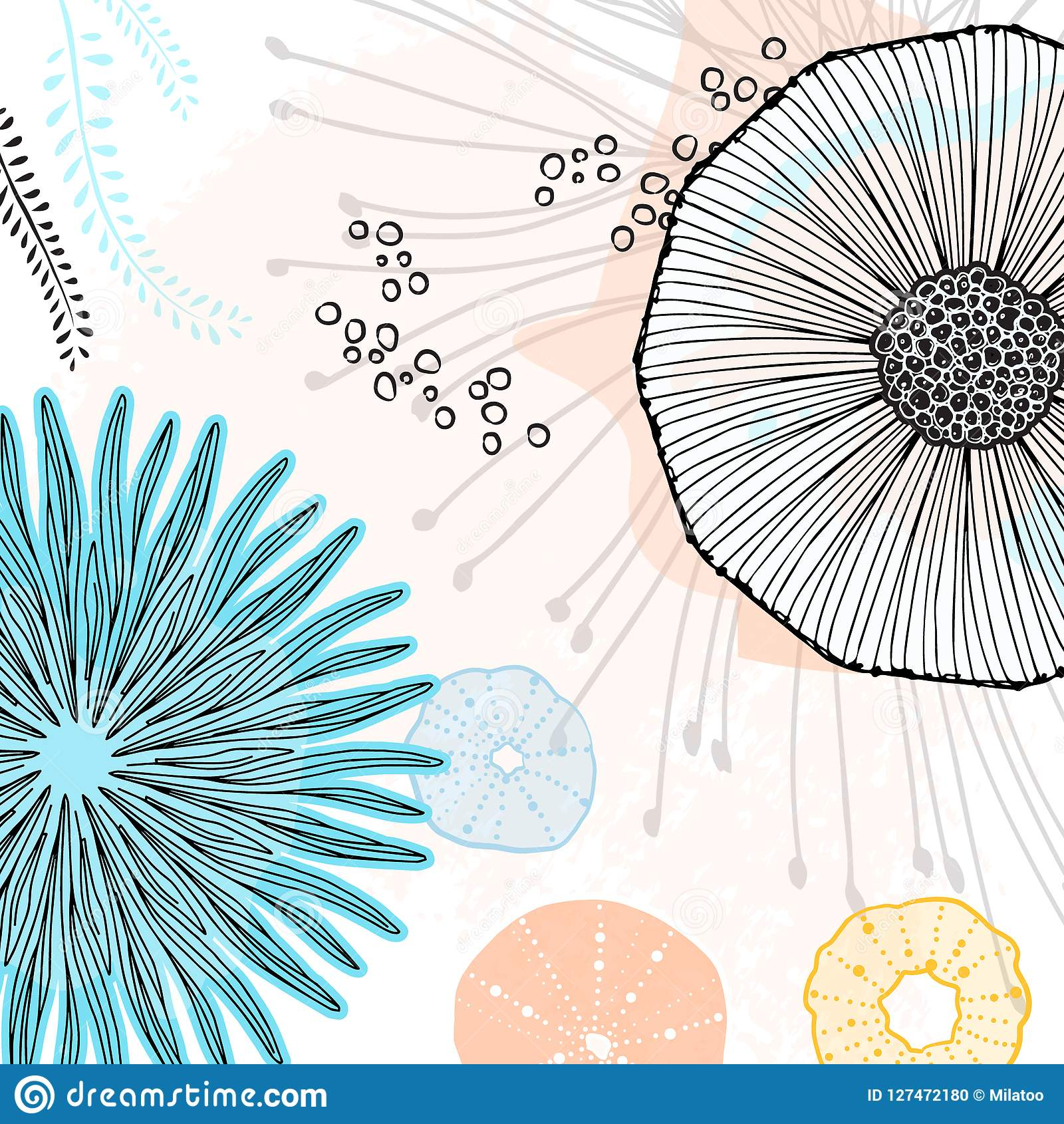 Vector Special Abstract Painting Online Doodle Wallpaper Cool Simple Flower Elements With Creative Background Floral Mural Art Stock Vector Illustration Of Kids Illustratoin 127472180