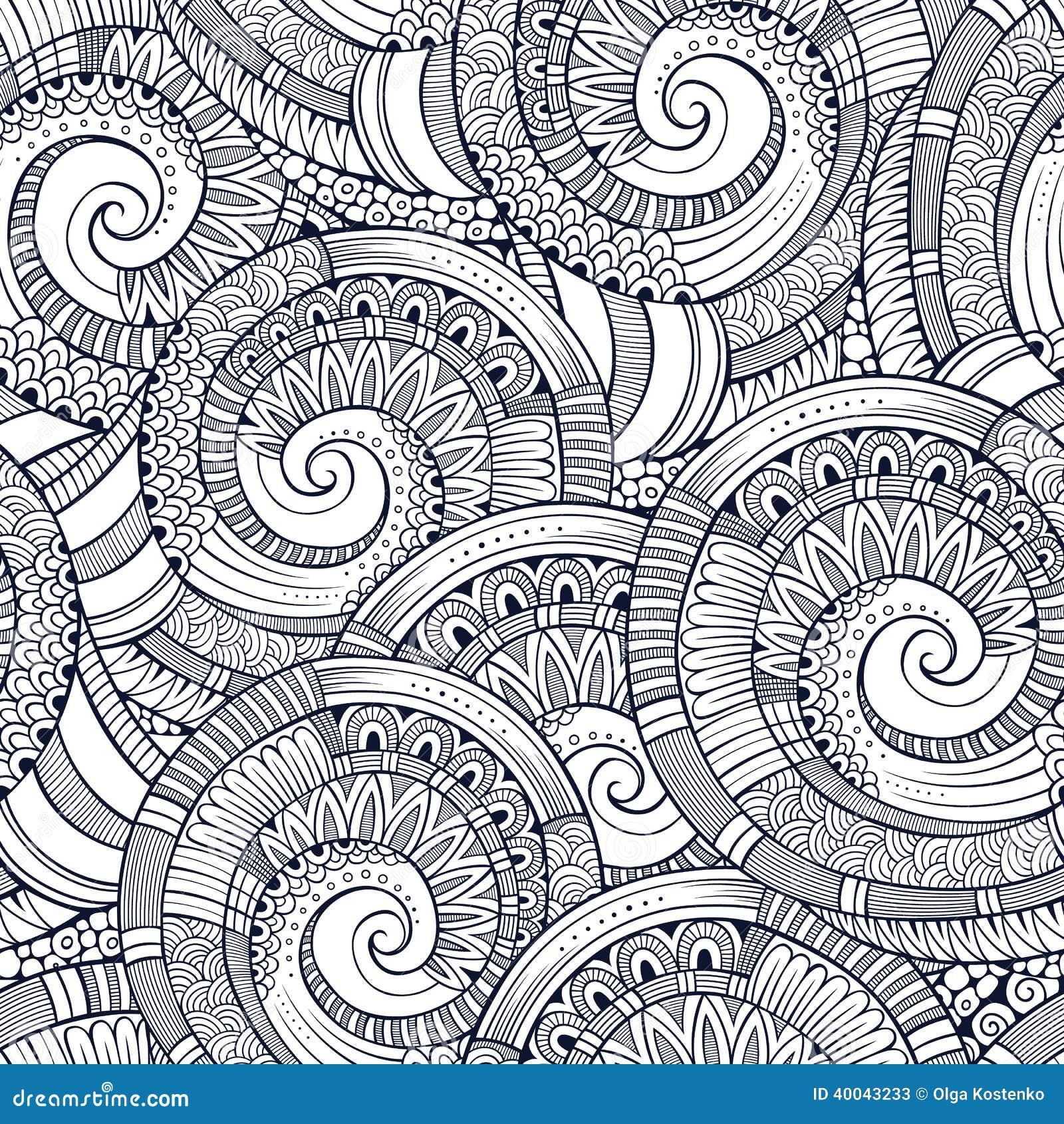 Vector Spiral Decorative Doodles Pattern Stock