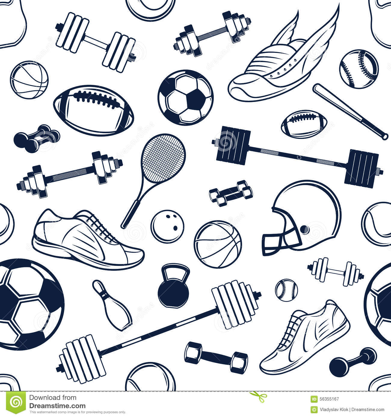 Vector Sport Equipment Black And White Background
