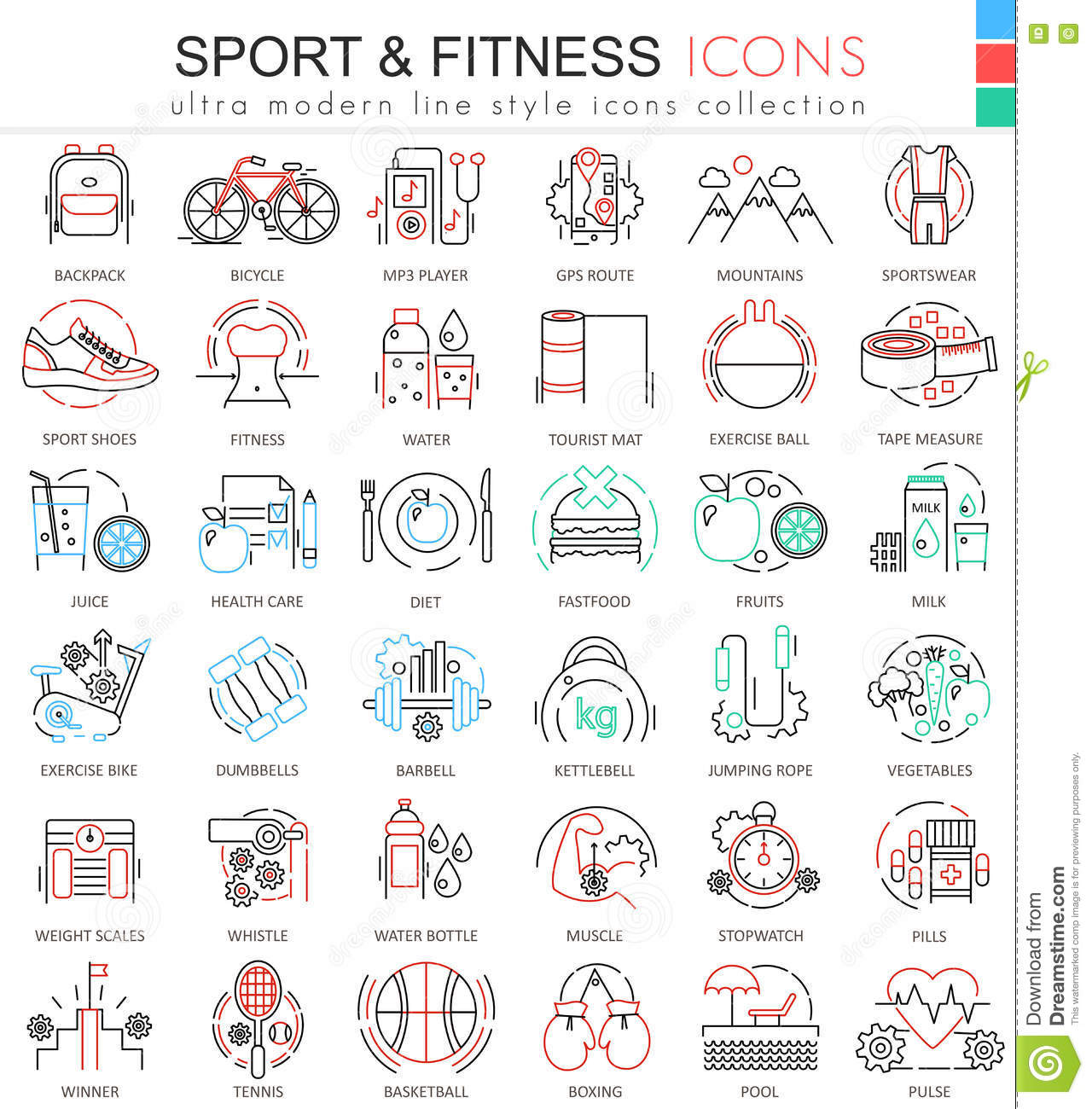Modern colors web design - Modern Colors Web Design Vector Sport And Fitness Ultra Modern Color Outline Line Icons For