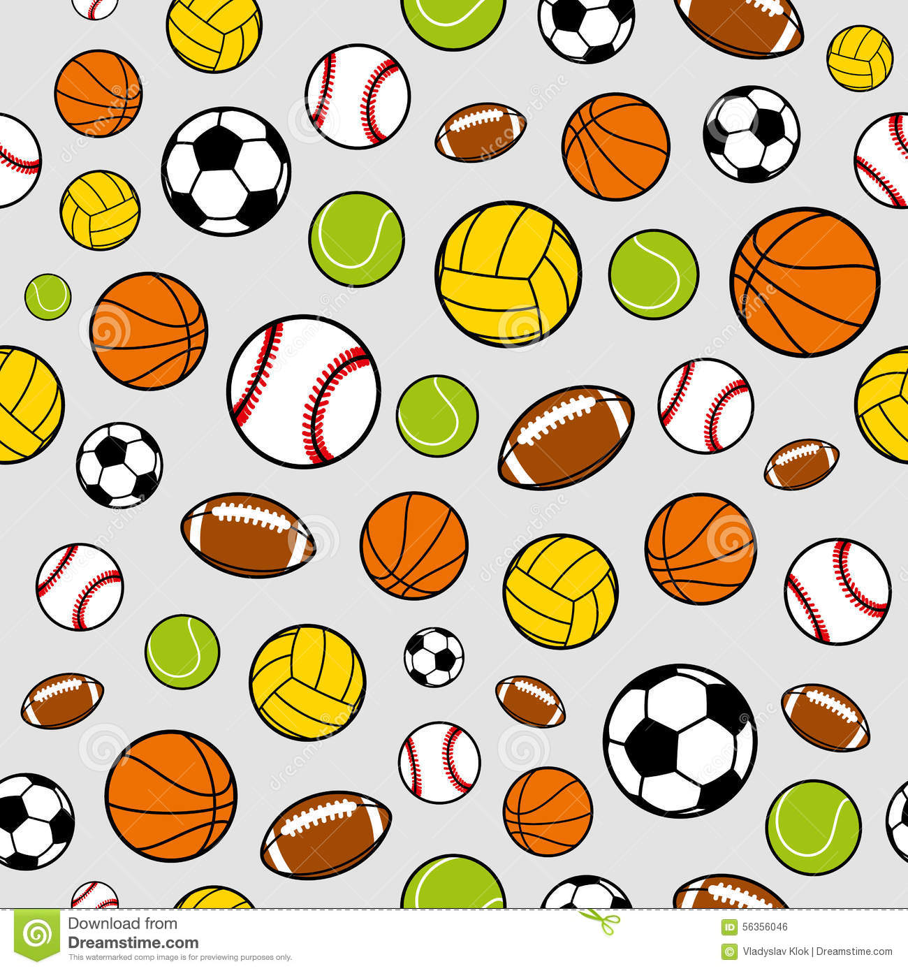 Vector Sports Balls Seamless Background, Sports Equipment
