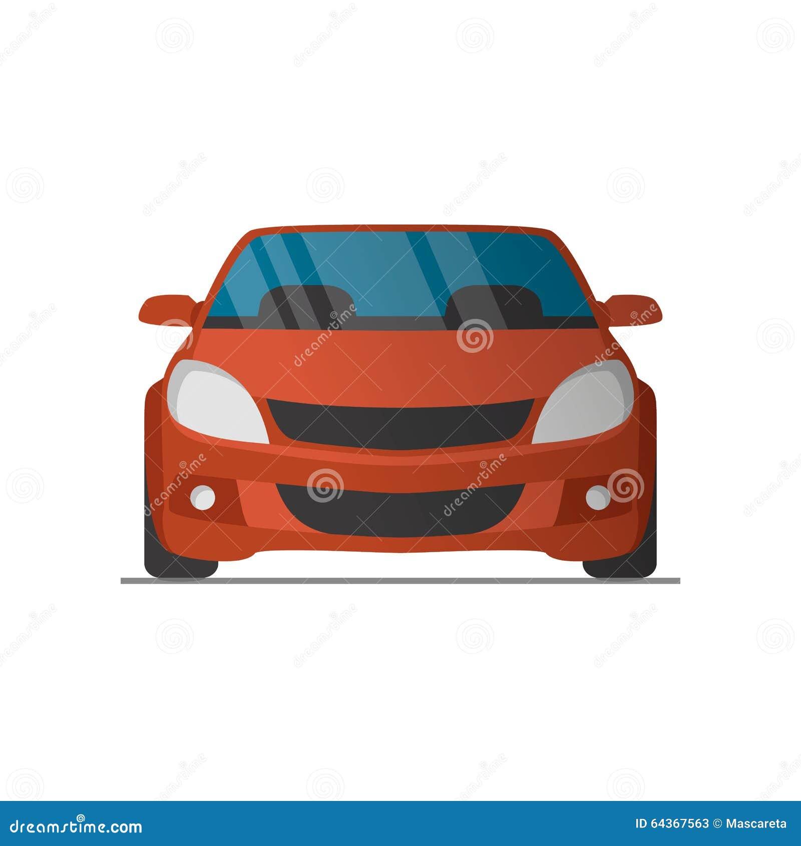 Red Cartoon Sports Car Rear View