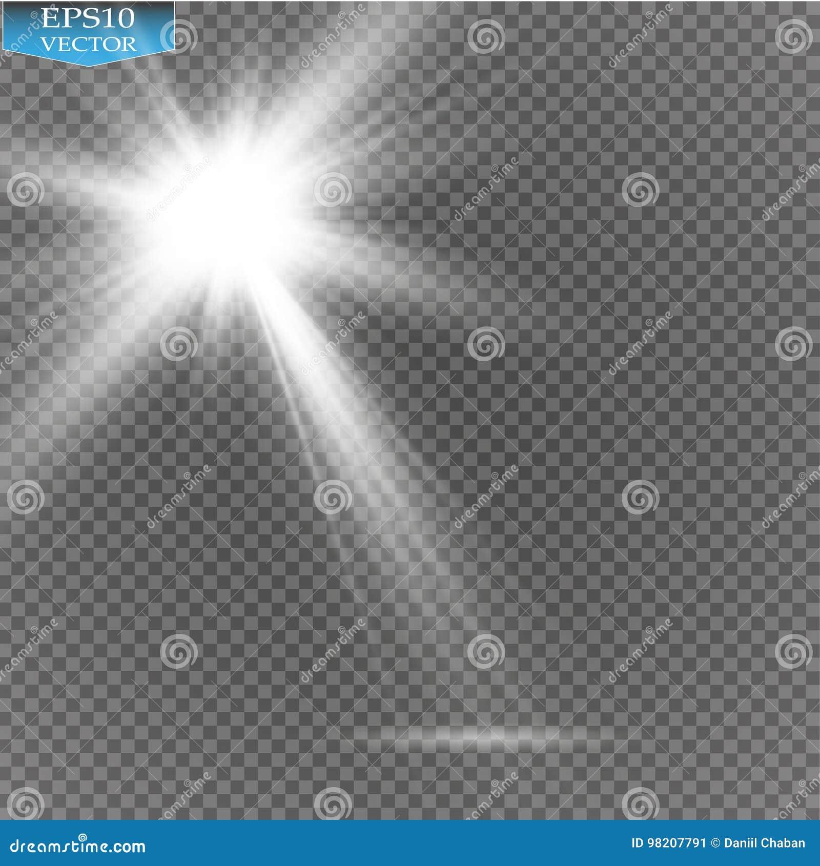 Vector Spotlights. Scene. Light Effects.Vector transparent sunlight special lens flare light effect. Sun flash with rays