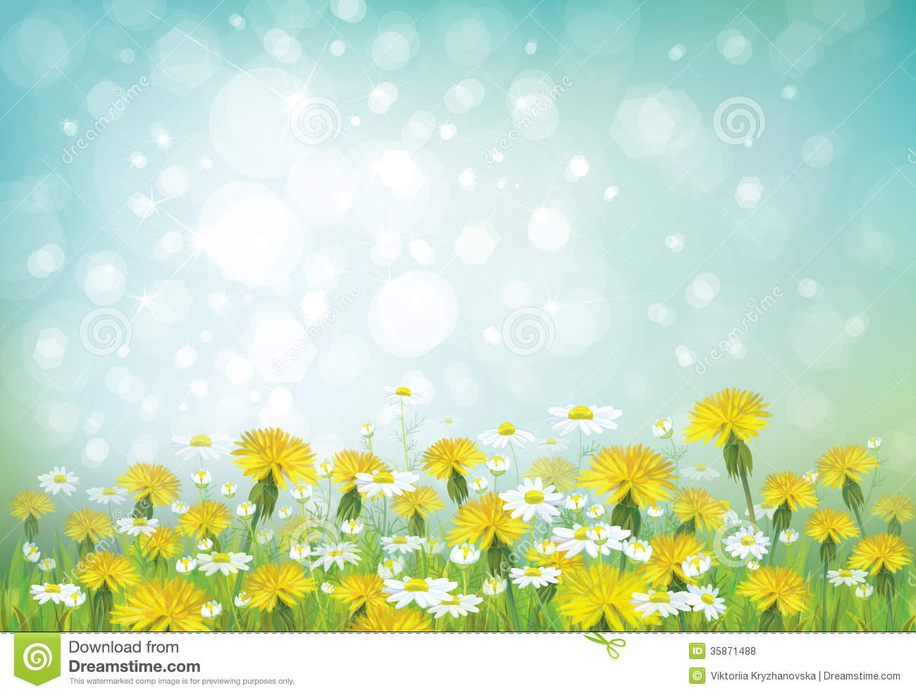 Vector Spring Background With Chamomiles And Dande