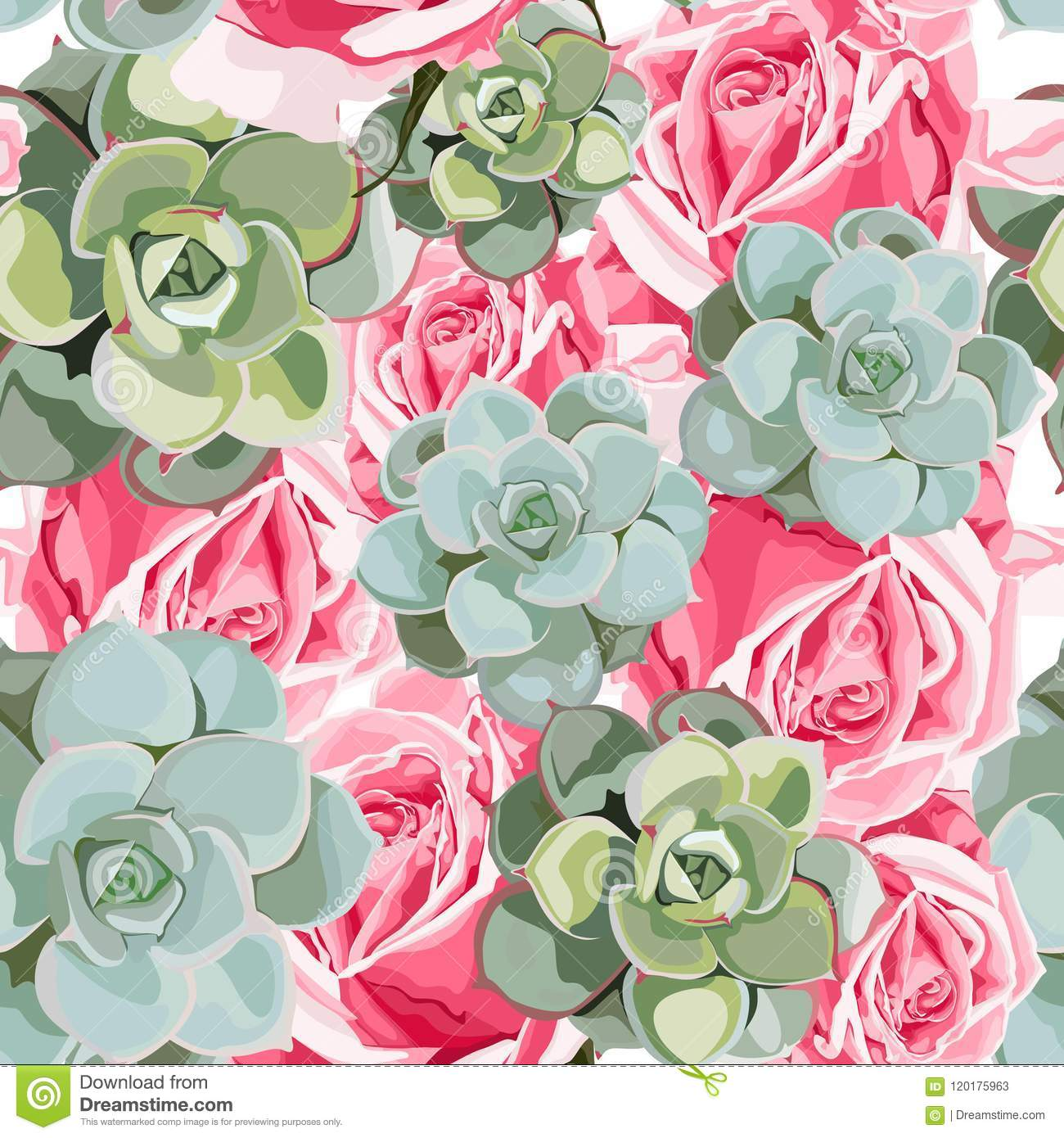 Vector spring flower seamless pattern with succulents and pink roses. Elegant tender design.