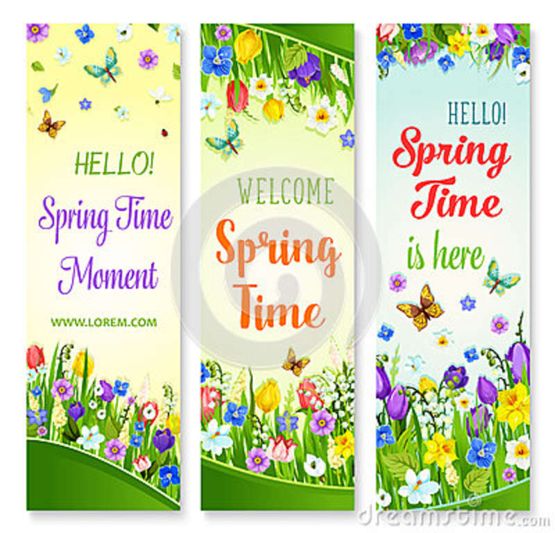 Vector spring flowers banners with greeting quotes stock vector download vector spring flowers banners with greeting quotes stock vector illustration of blooming flower mightylinksfo
