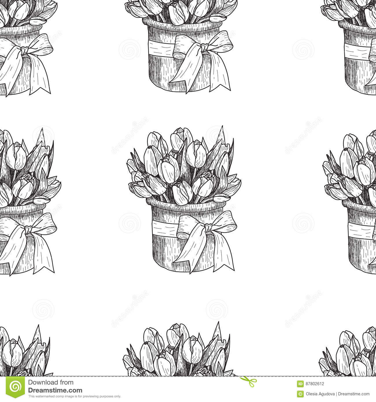 Vector spring flowers floral seamless pattern vintage background vector spring flowers flower tulip floral seamless pattern vintage background with hand drawn tulips ink pen drawing mightylinksfo