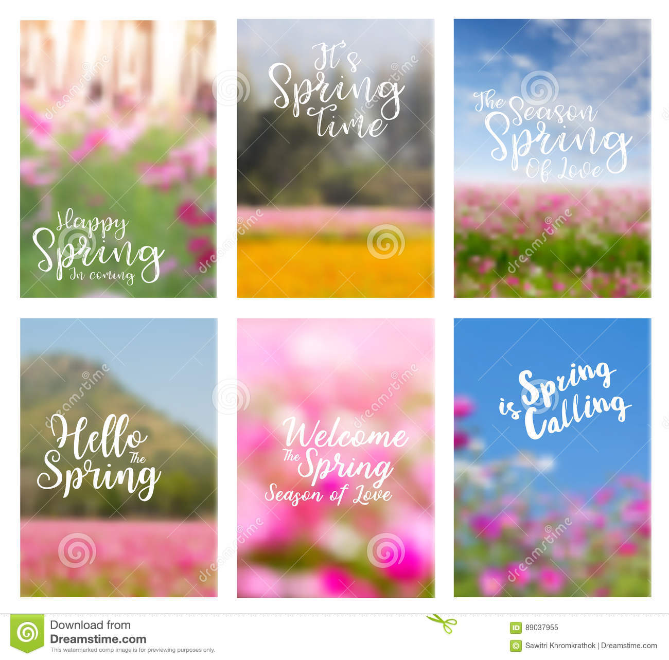 Vector Spring Flowers Ideas Concept With Positive Quotes Stock