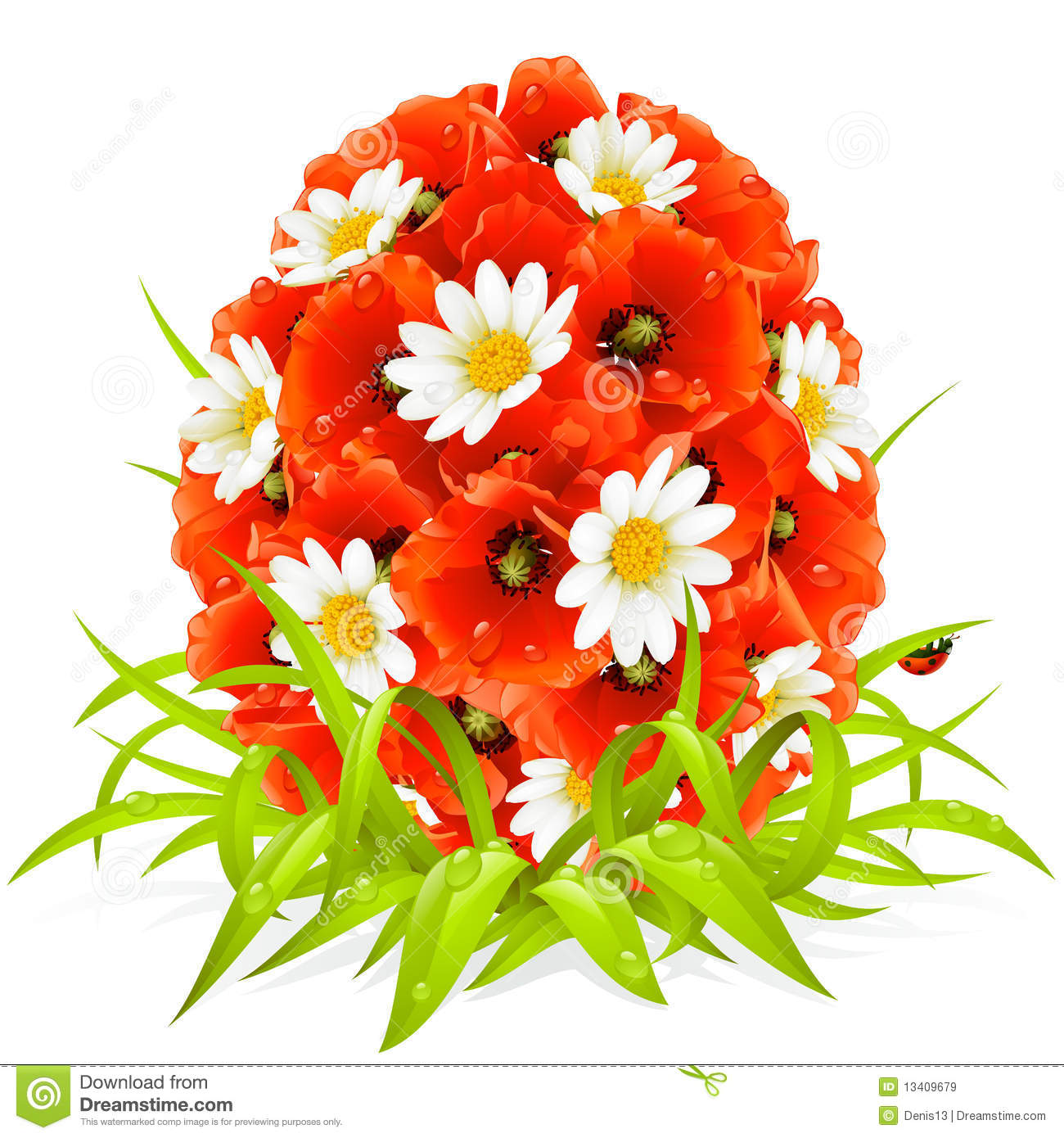 Vector spring flowers in the shape of easter egg stock vector royalty free stock photo mightylinksfo