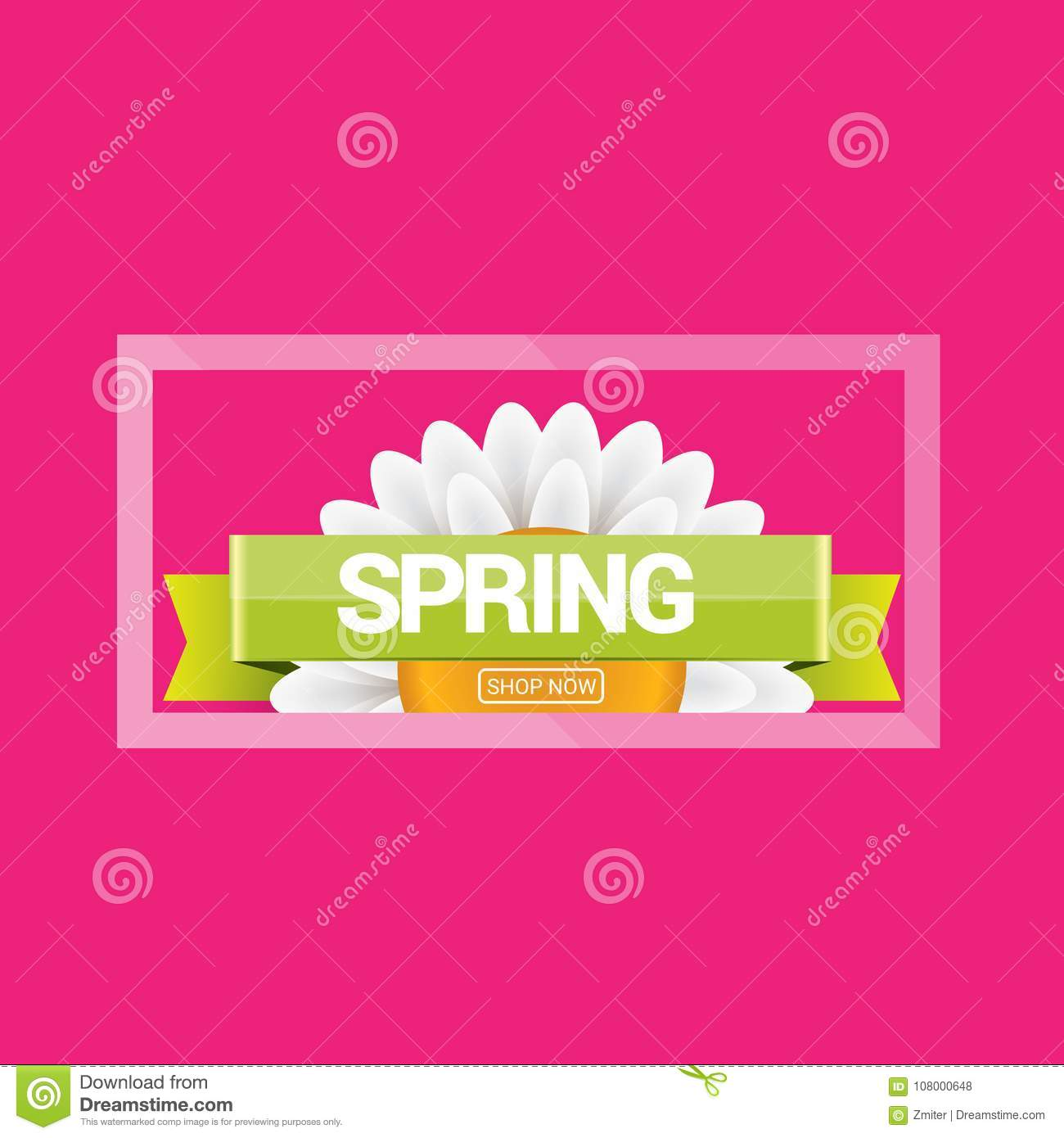 vector spring sale design template banner or tag on pink background