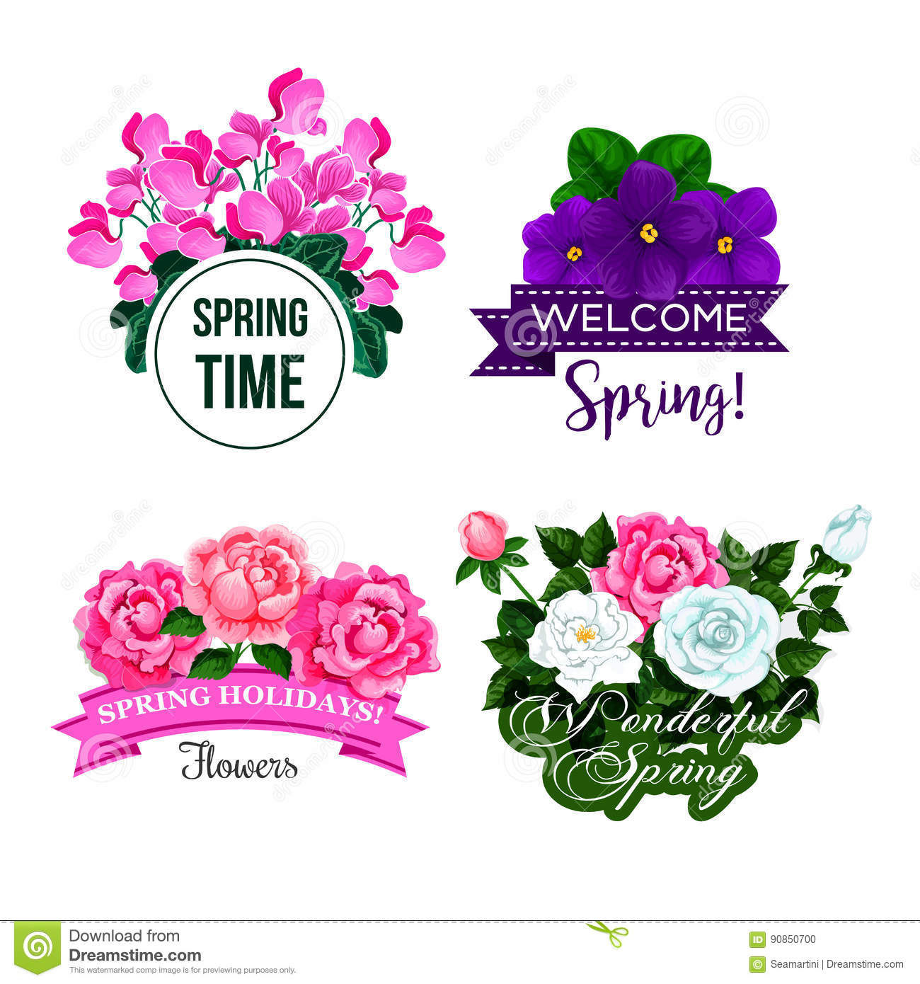Vector Spring Time Greeting Quotes Flowers Design Stock Vector