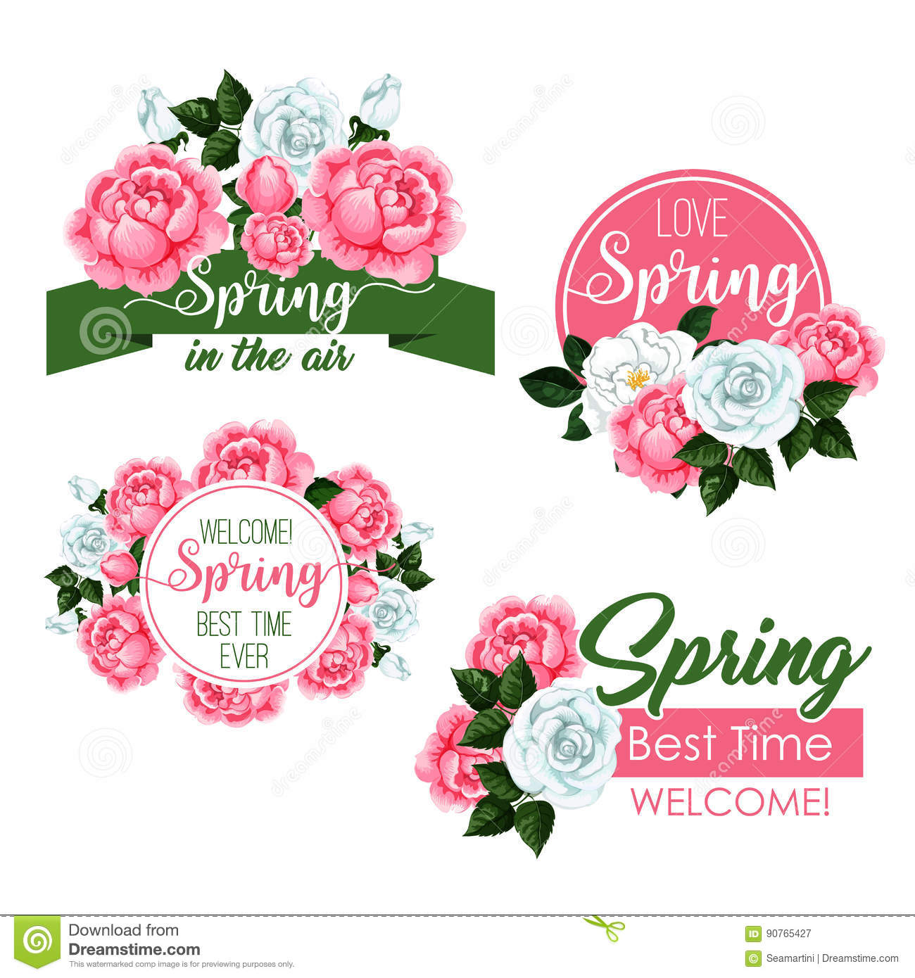Vector spring time greeting quotes and flowers set stock vector download vector spring time greeting quotes and flowers set stock vector illustration of design mightylinksfo