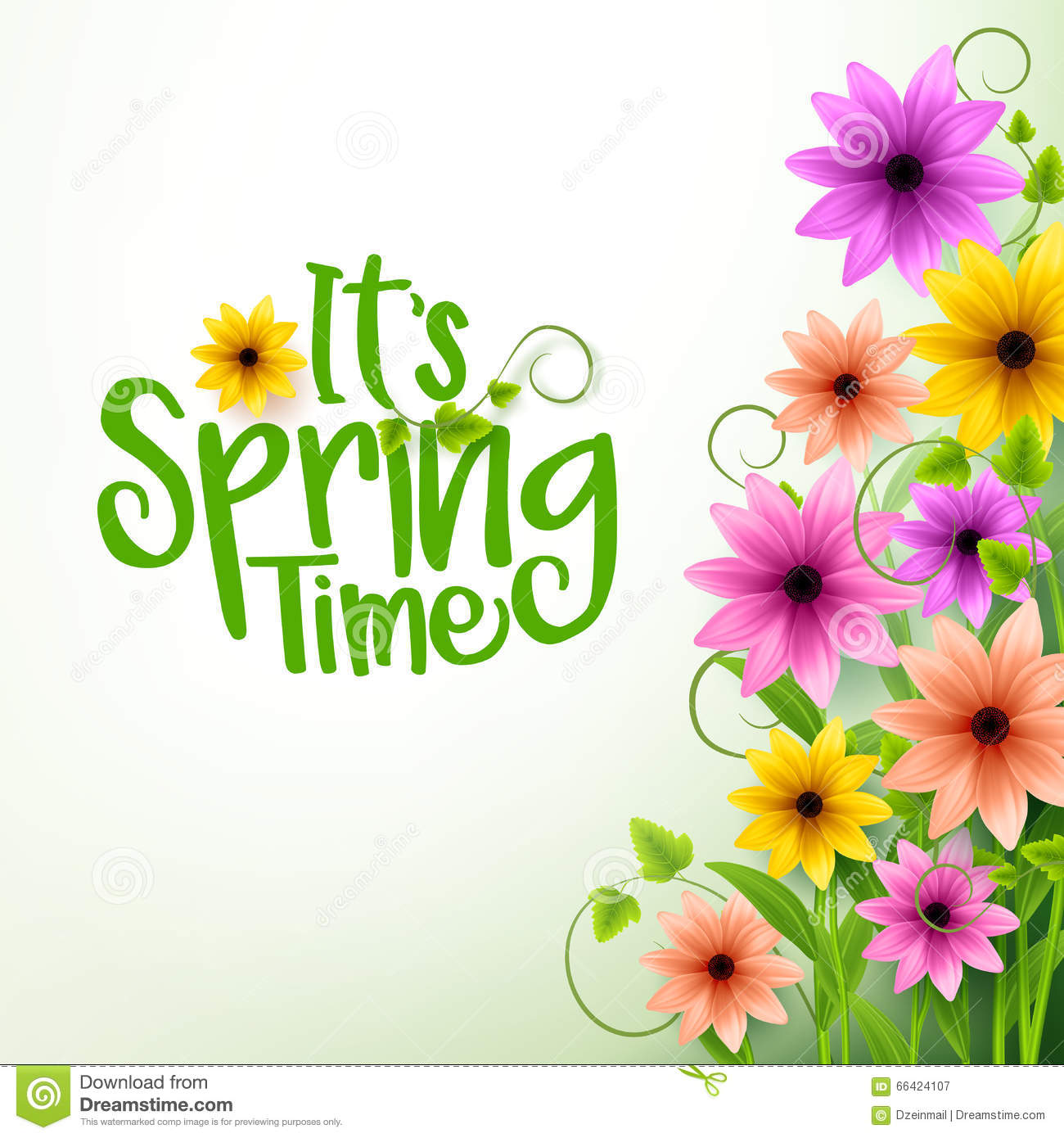 Vector Spring Time Text in White Background with Flowers