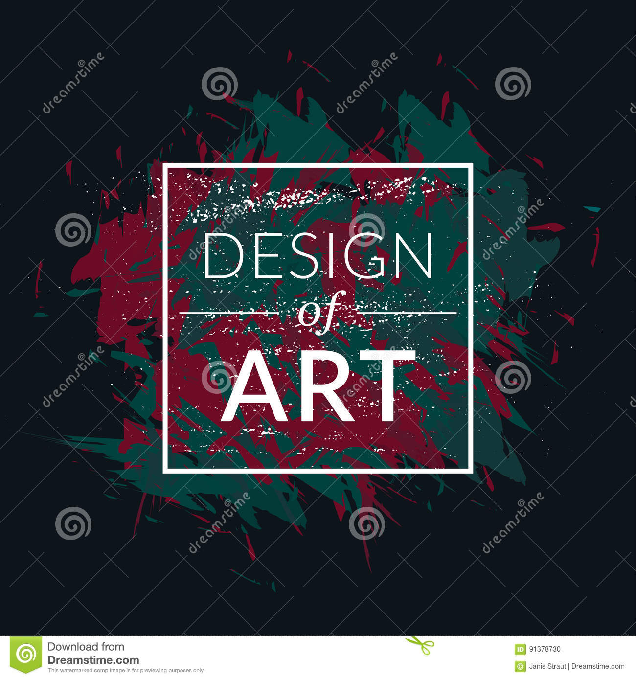 Vector Square Frame With Paint Brush Background And Text