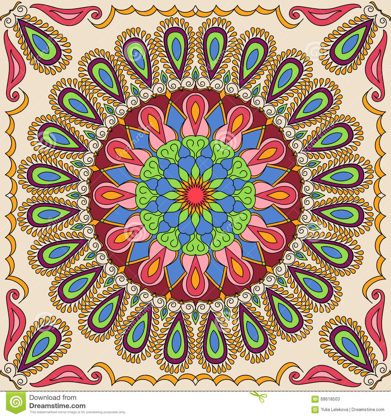 Vector Square Mandala Pattern As Example For Coloring Book