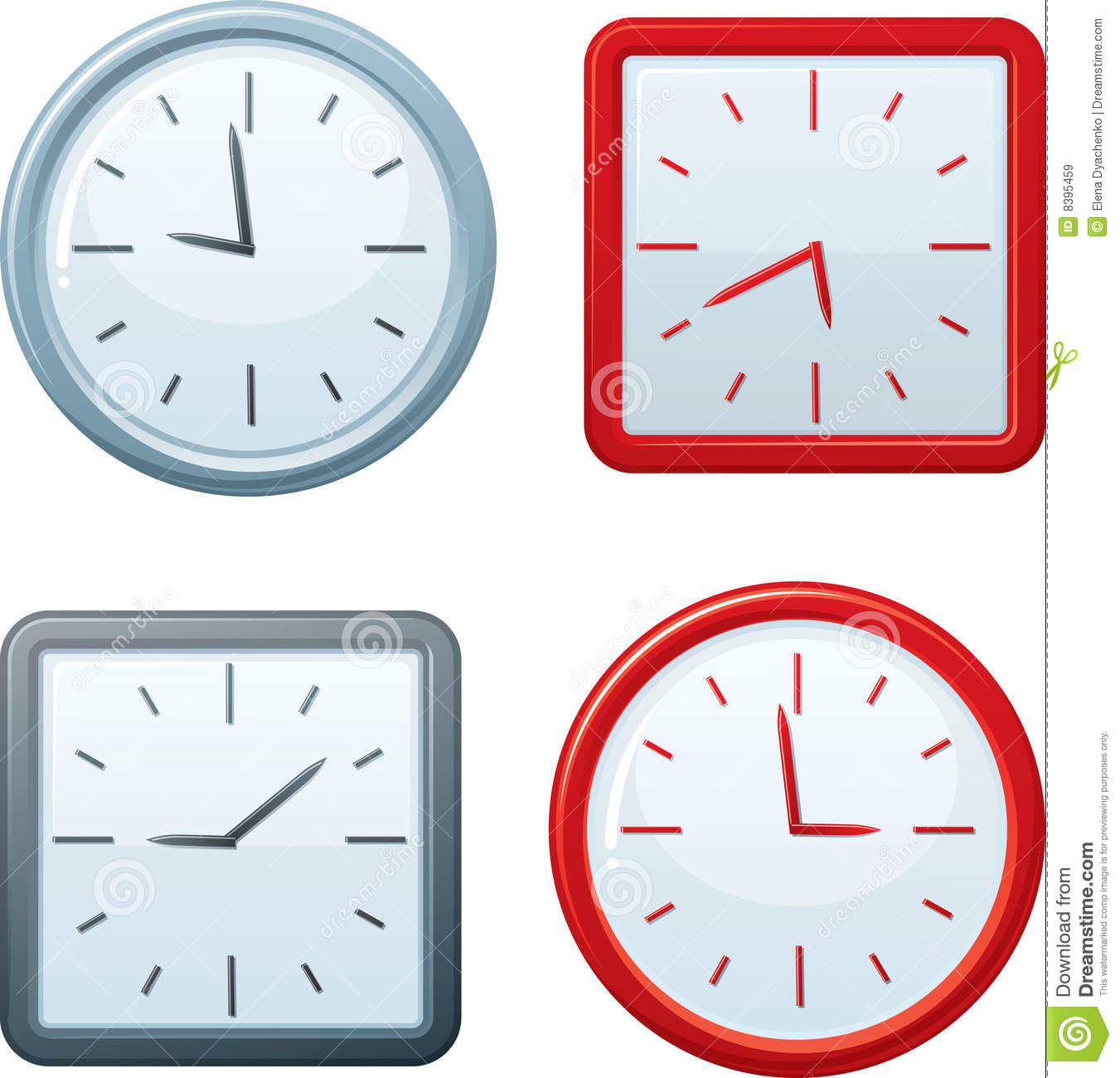 Vector Square And Round Clocks. Royalty Free Stock Images ...