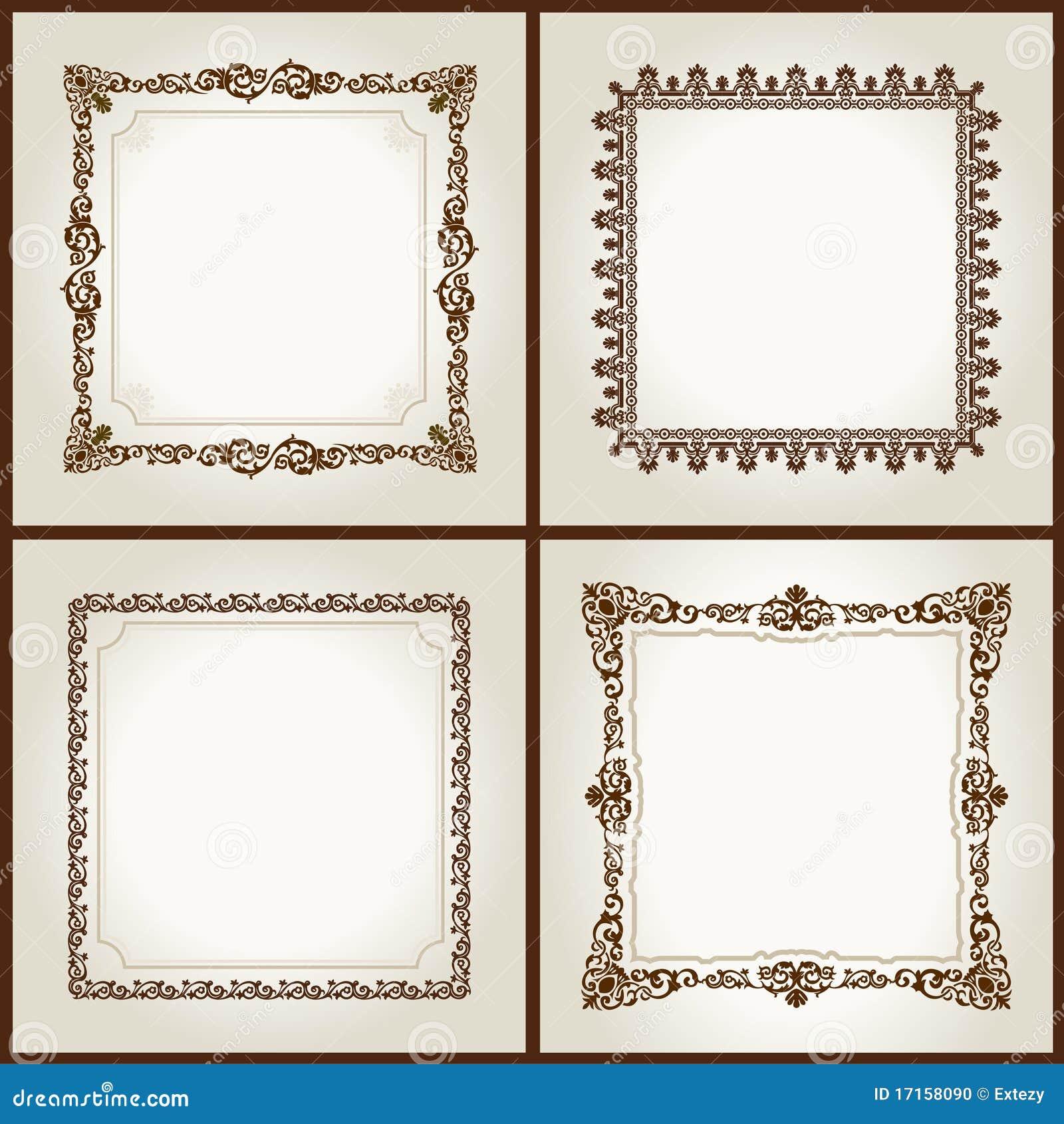 vector square vintage frames retro pattern
