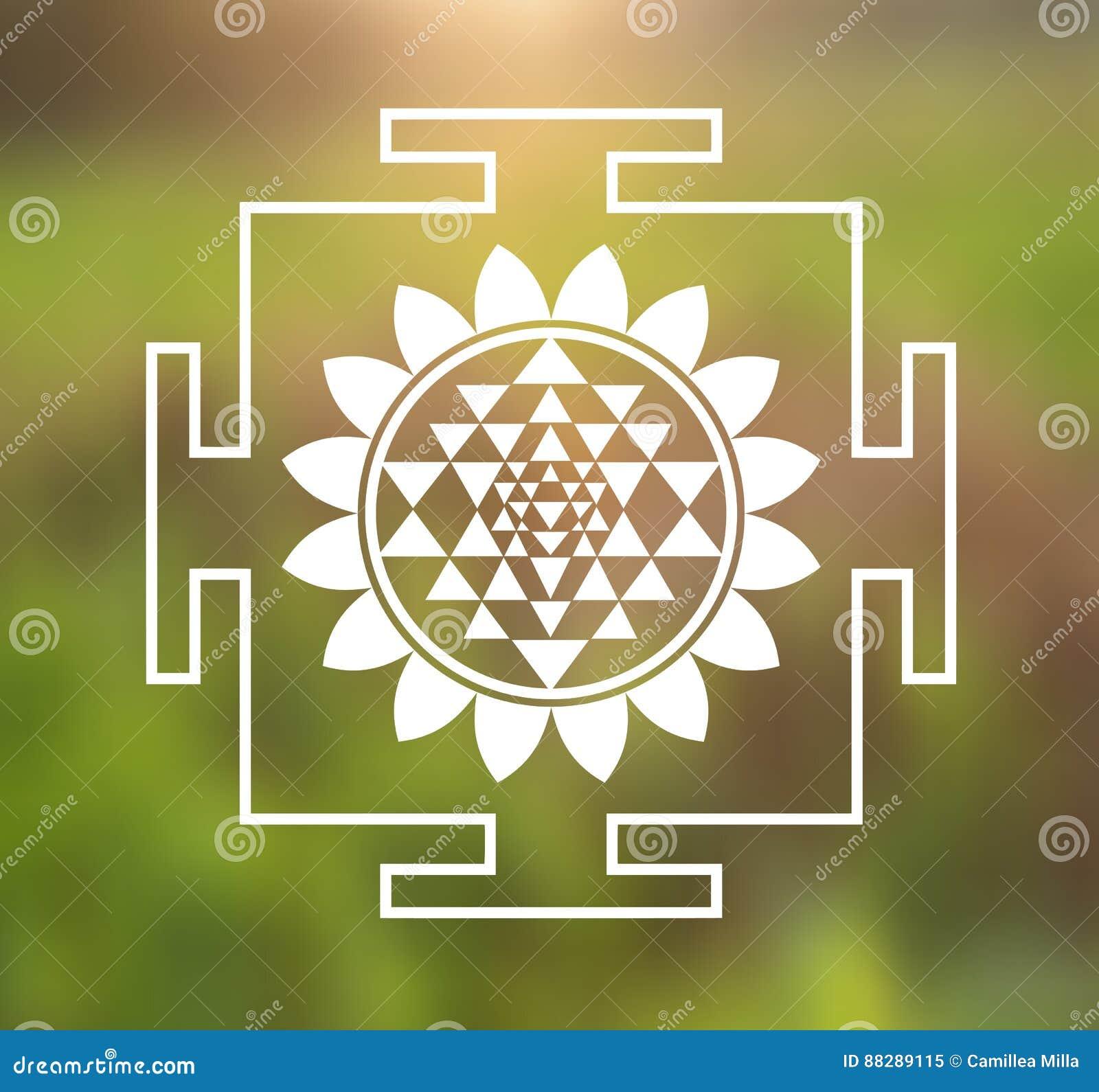 Vector sri yantra illustration with lotus flower on a natural download vector sri yantra illustration with lotus flower on a natural background stock vector illustration izmirmasajfo